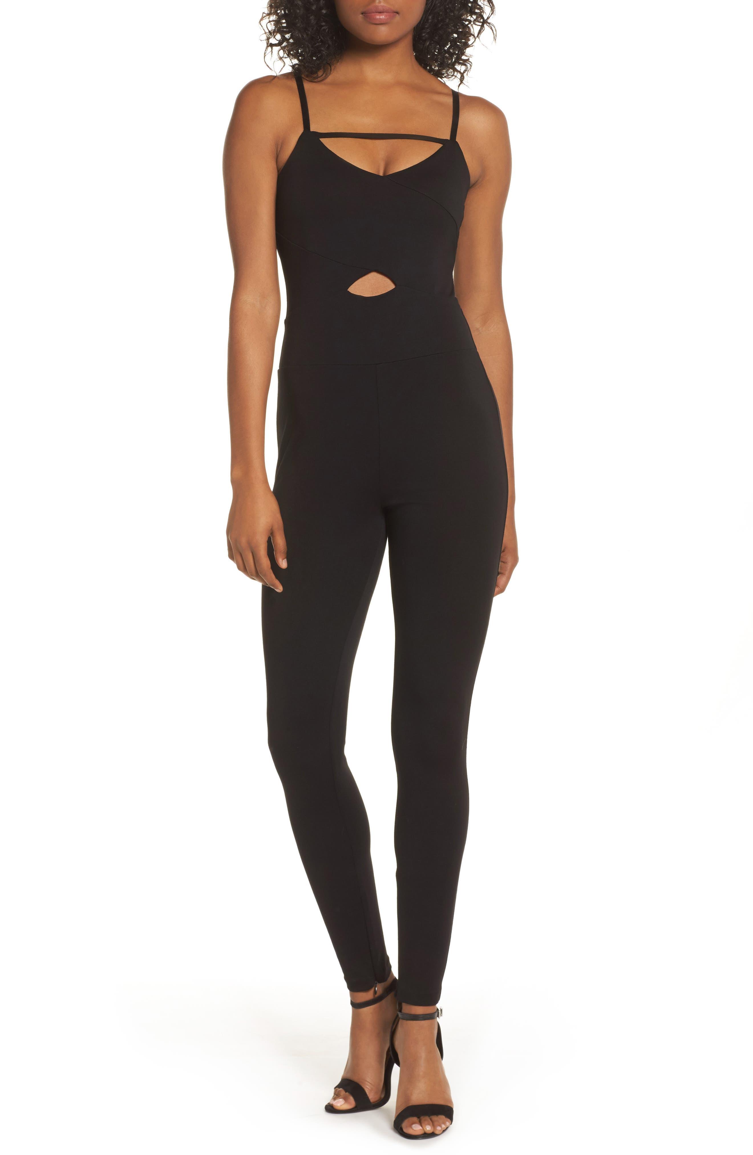 Femme Fatale Cutout Jumpsuit,                         Main,                         color, Black