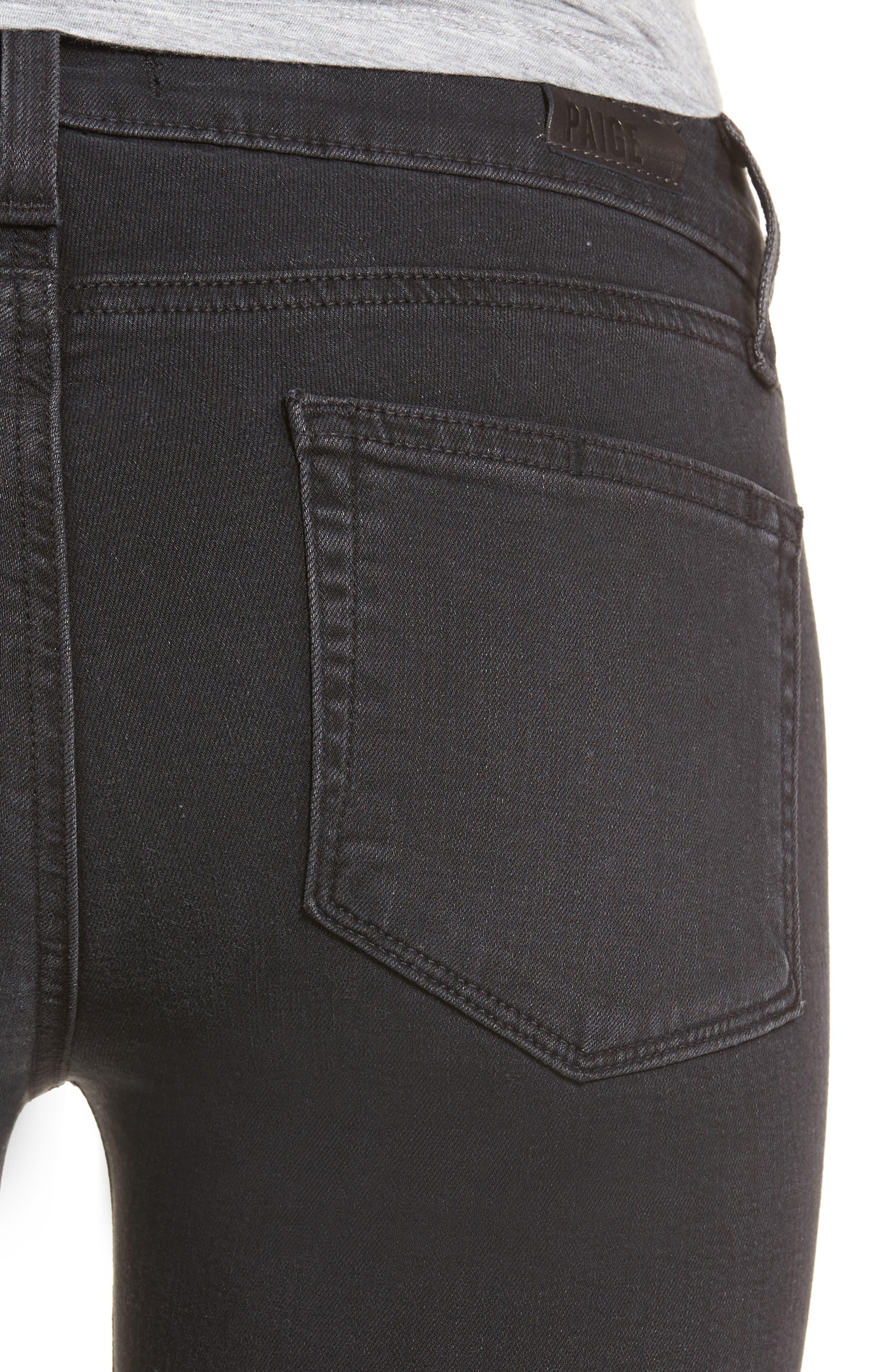 Transcend - Verdugo Ankle Skinny Jeans,                             Alternate thumbnail 4, color,                             Black Fog Super Distressed