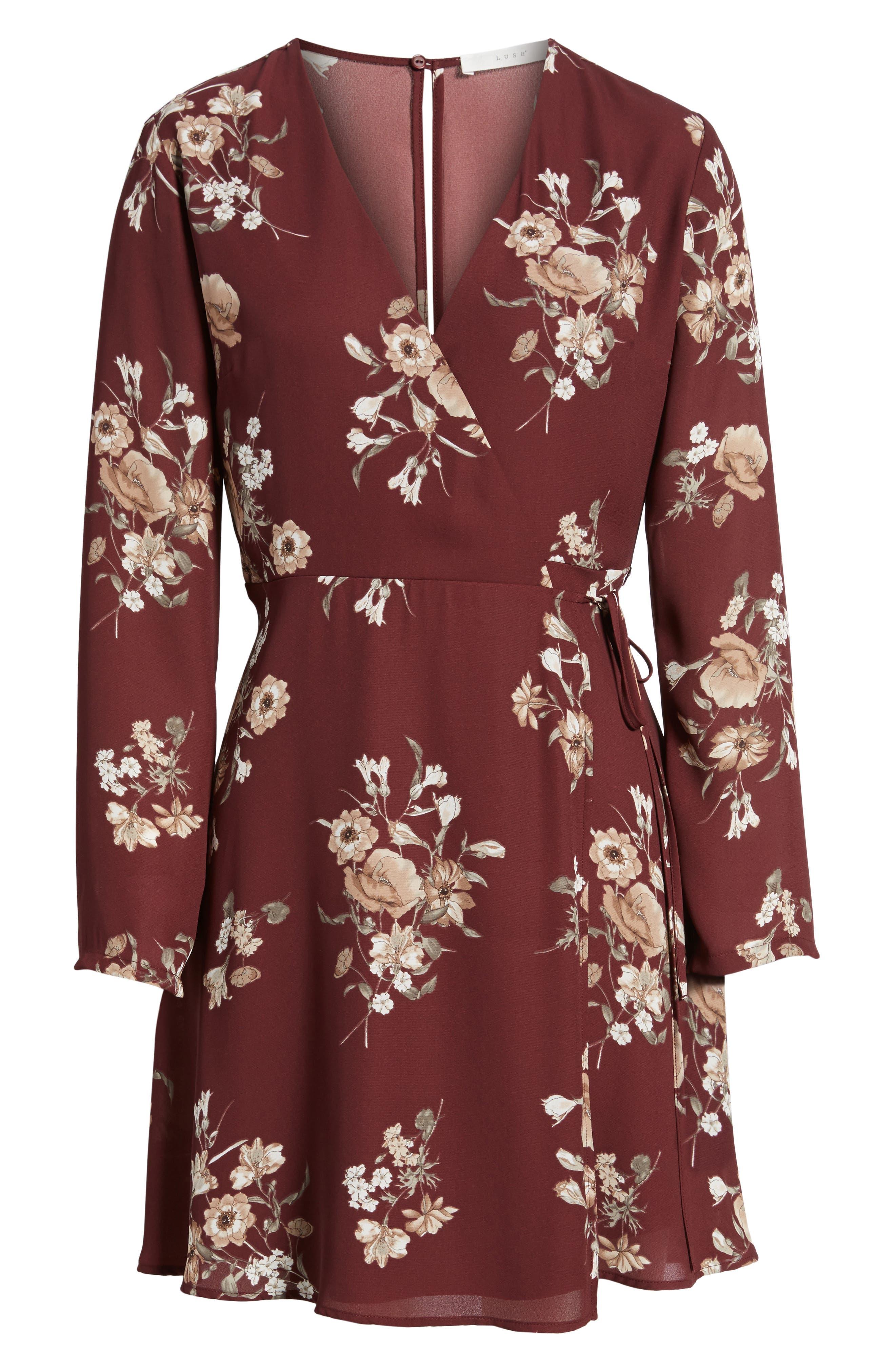Elly Wrap Dress,                             Alternate thumbnail 6, color,                             Burgundy Floral