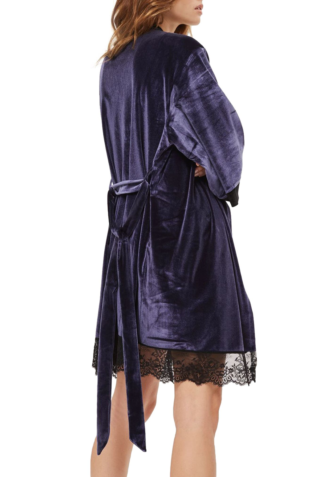 Nocturne Lace and Velvet Robe,                             Alternate thumbnail 2, color,                             Navy Blue