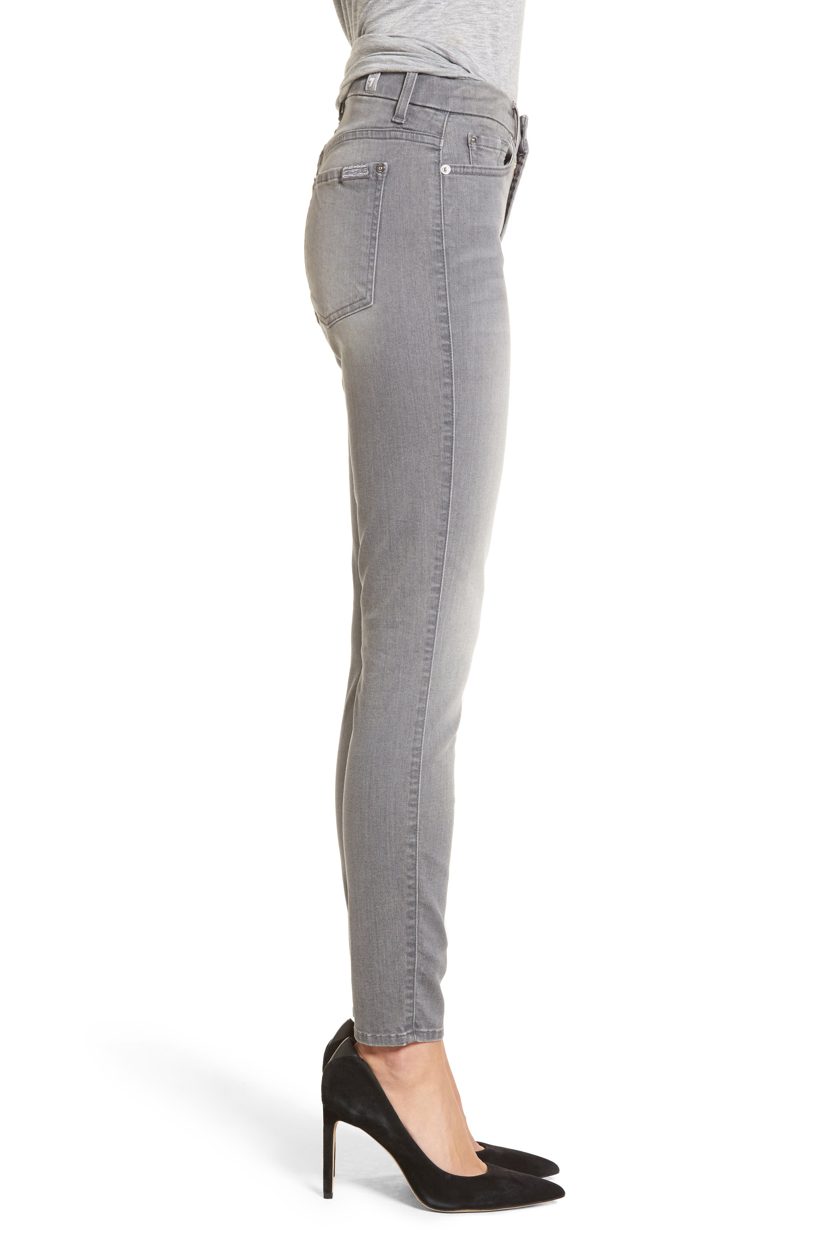 Alternate Image 3  - 7 For All Mankind® High Waist Ankle Skinny Jeans (Chrysler Grey)