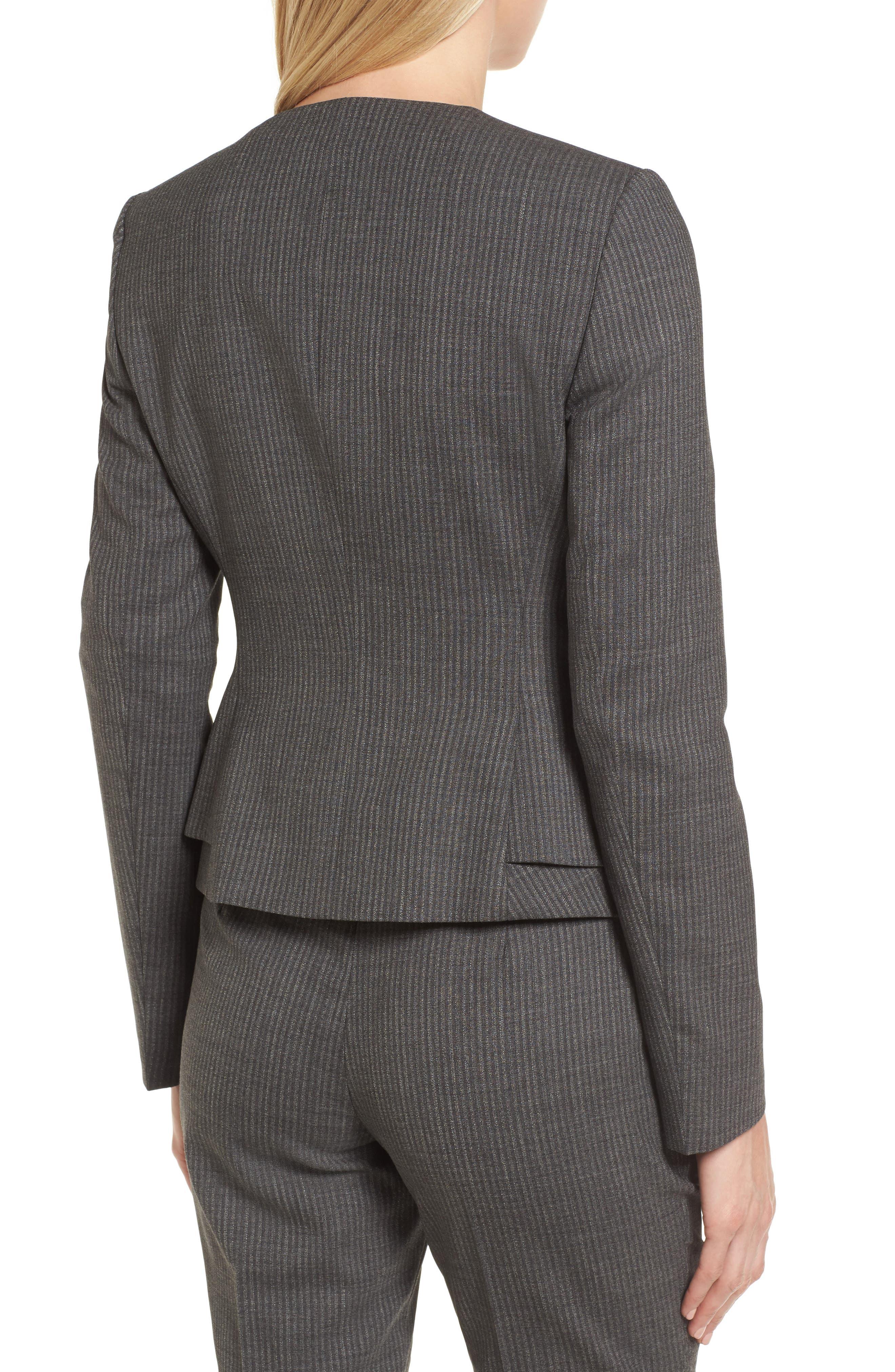 Jasyma Stripe Wool Suit Jacket,                             Alternate thumbnail 2, color,                             Dark Grey Fantasy