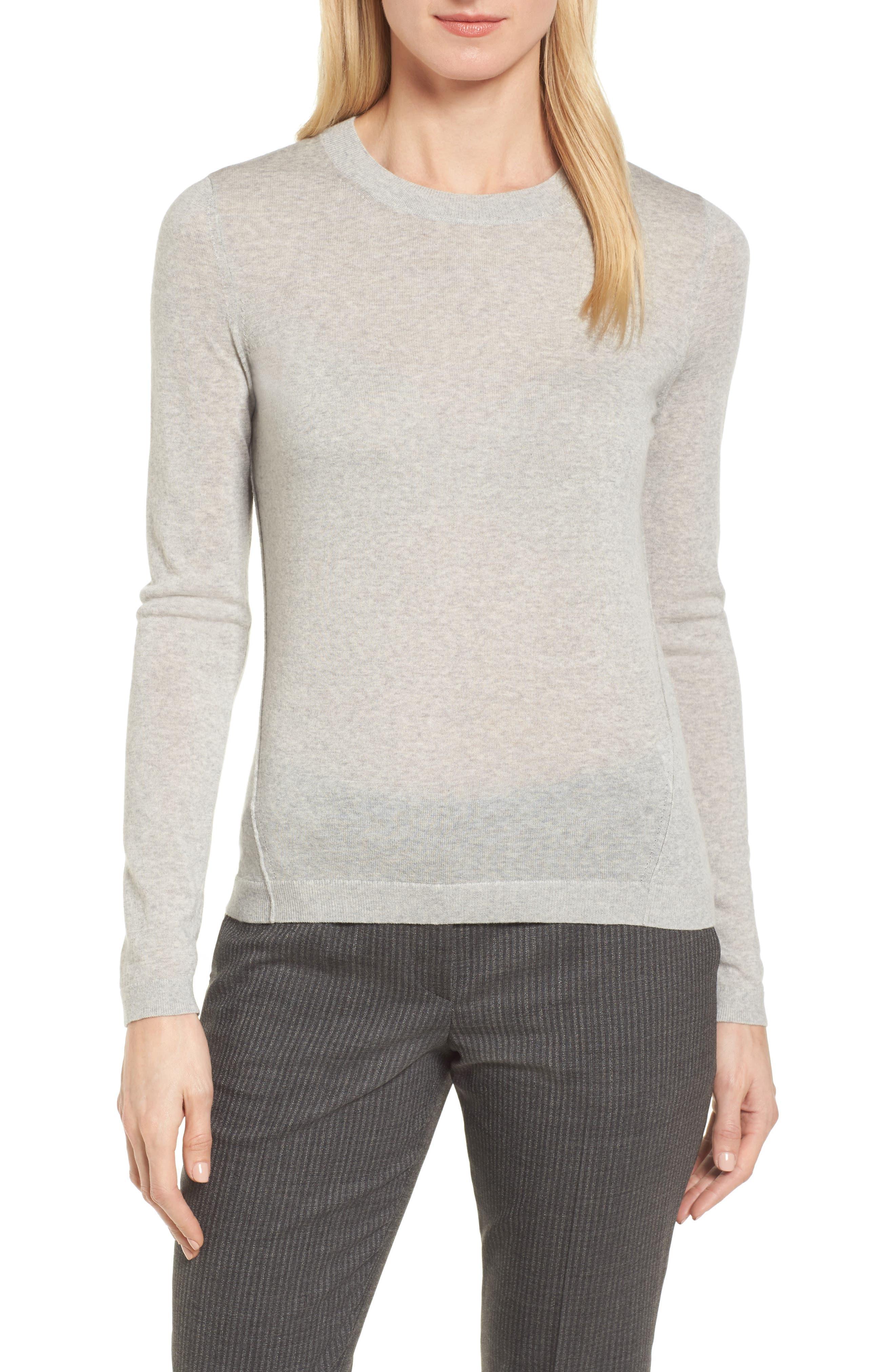 Fayme Wool Crewneck Sweater,                             Main thumbnail 1, color,                             Cozy Grey Melange
