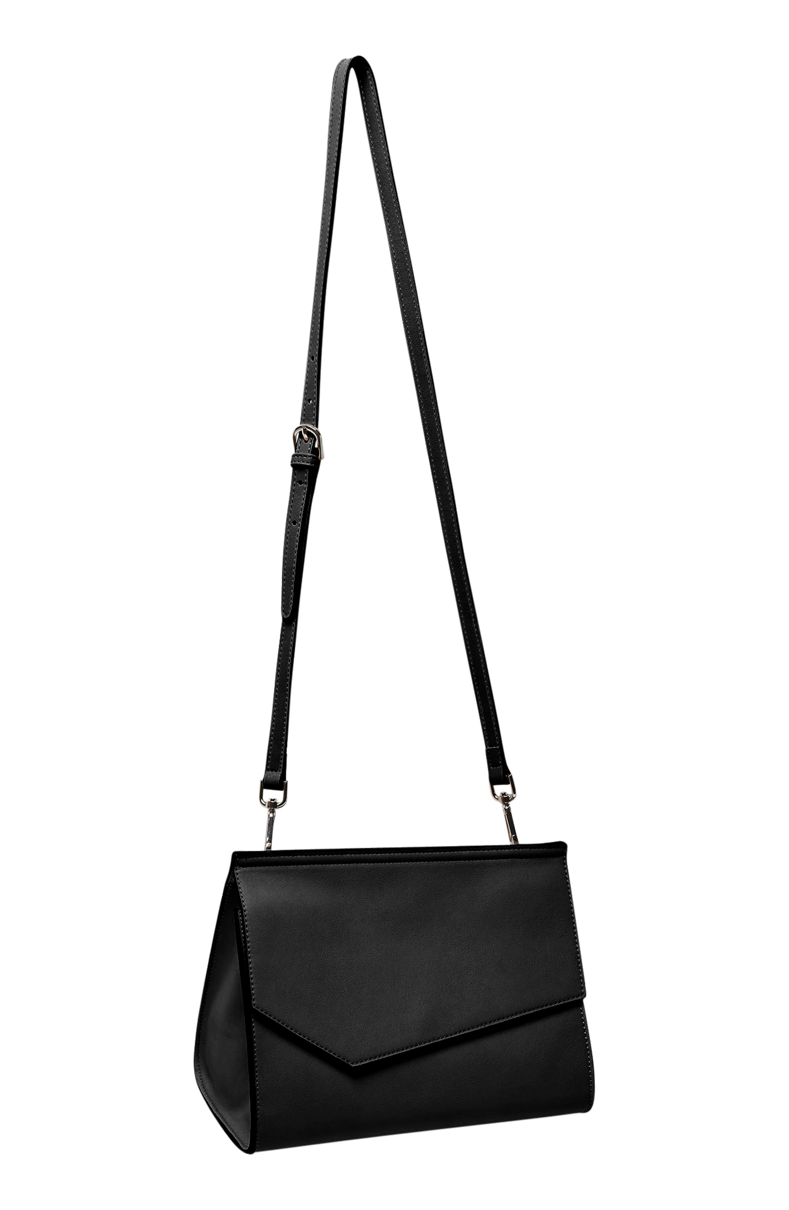 Shimmer Vegan Leather Shoulder Bag,                             Alternate thumbnail 2, color,                             Black