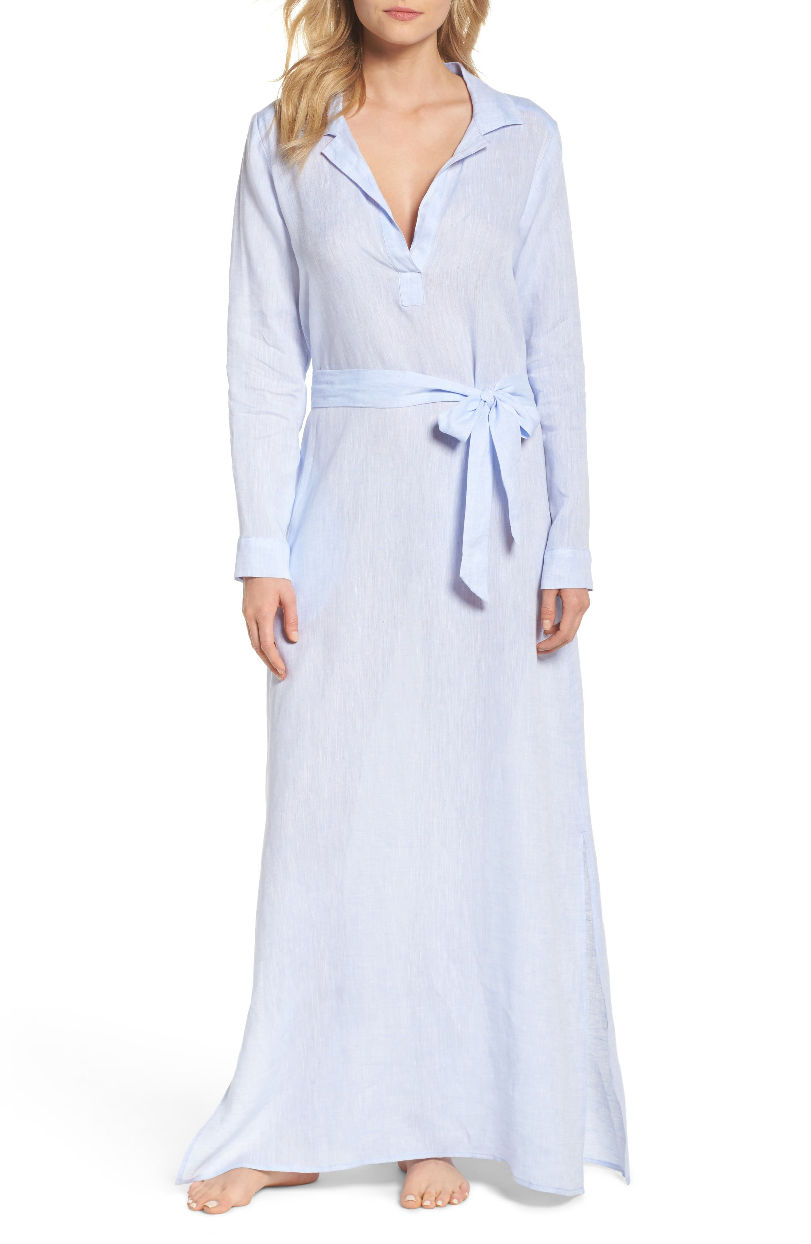 Alternate Image 1 Selected - Pour Les Femmes Linen Maxi Sleep Shirtdress