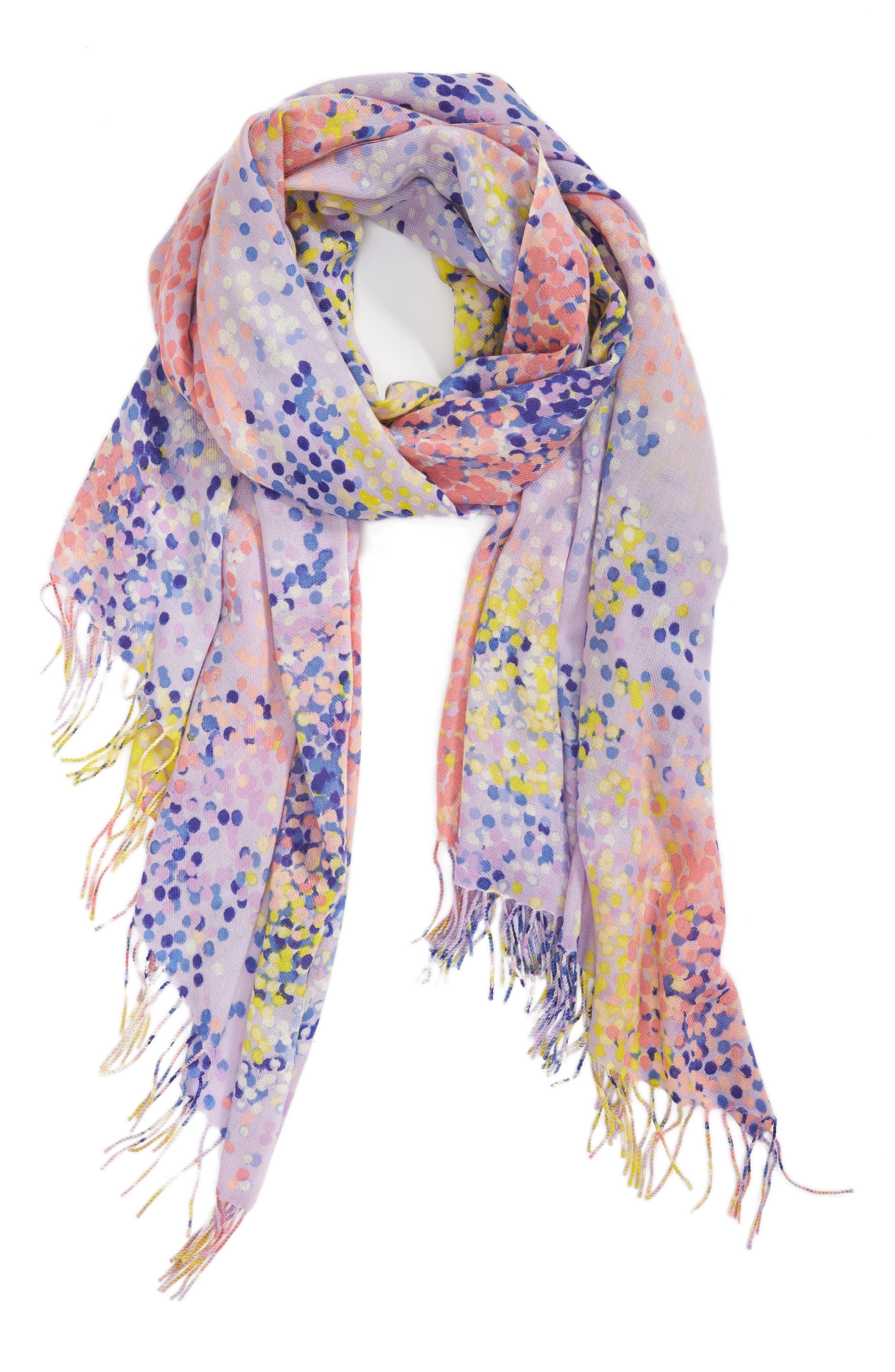 Tissue Print Wool & Cashmere Wrap Scarf,                             Alternate thumbnail 2, color,                             Purple Beautiful Dots