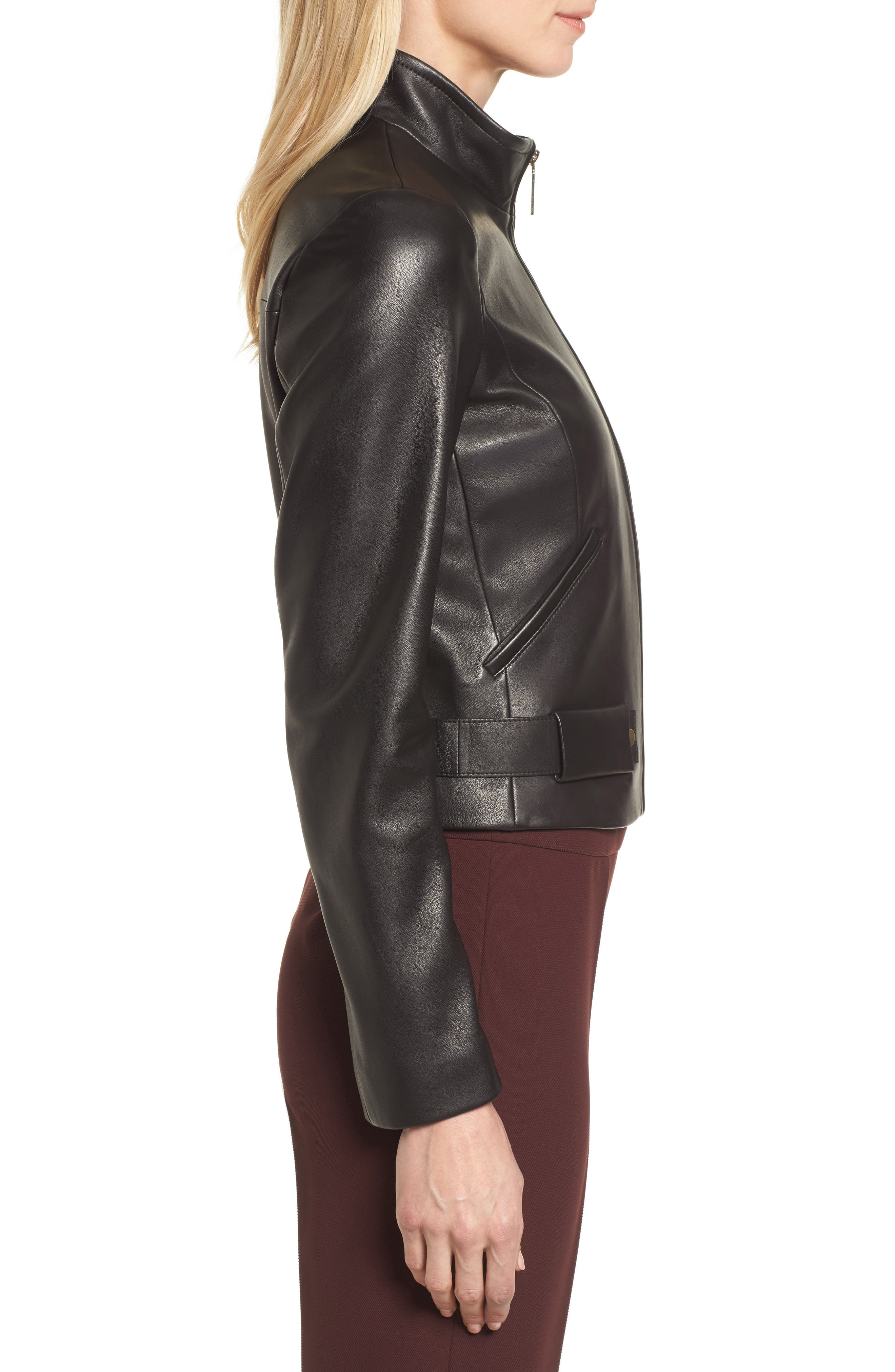 Sanuvo Leather Jacket,                             Alternate thumbnail 3, color,                             Black