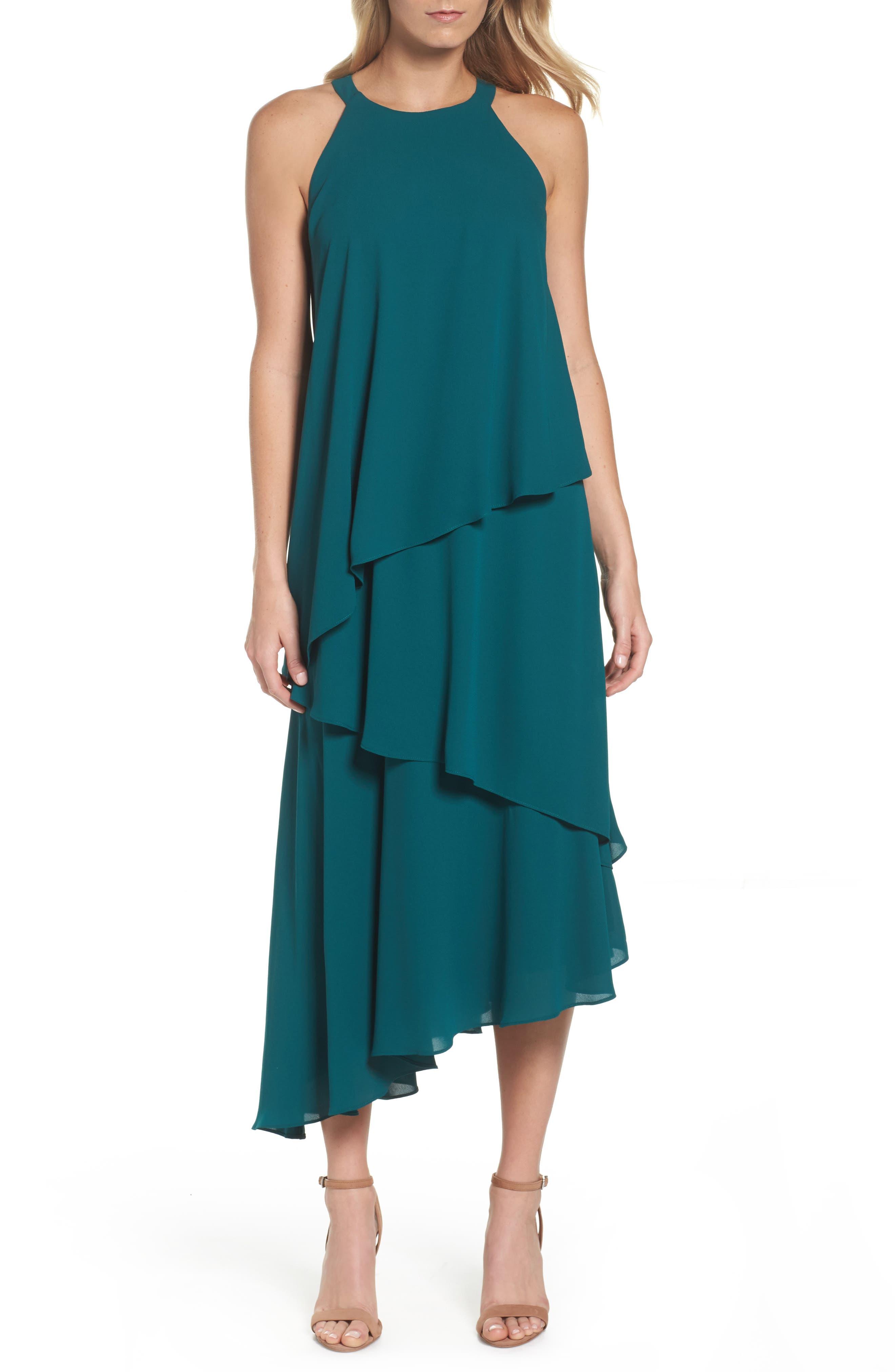 Georgette Asymmetric Dress,                             Main thumbnail 1, color,                             Hunter