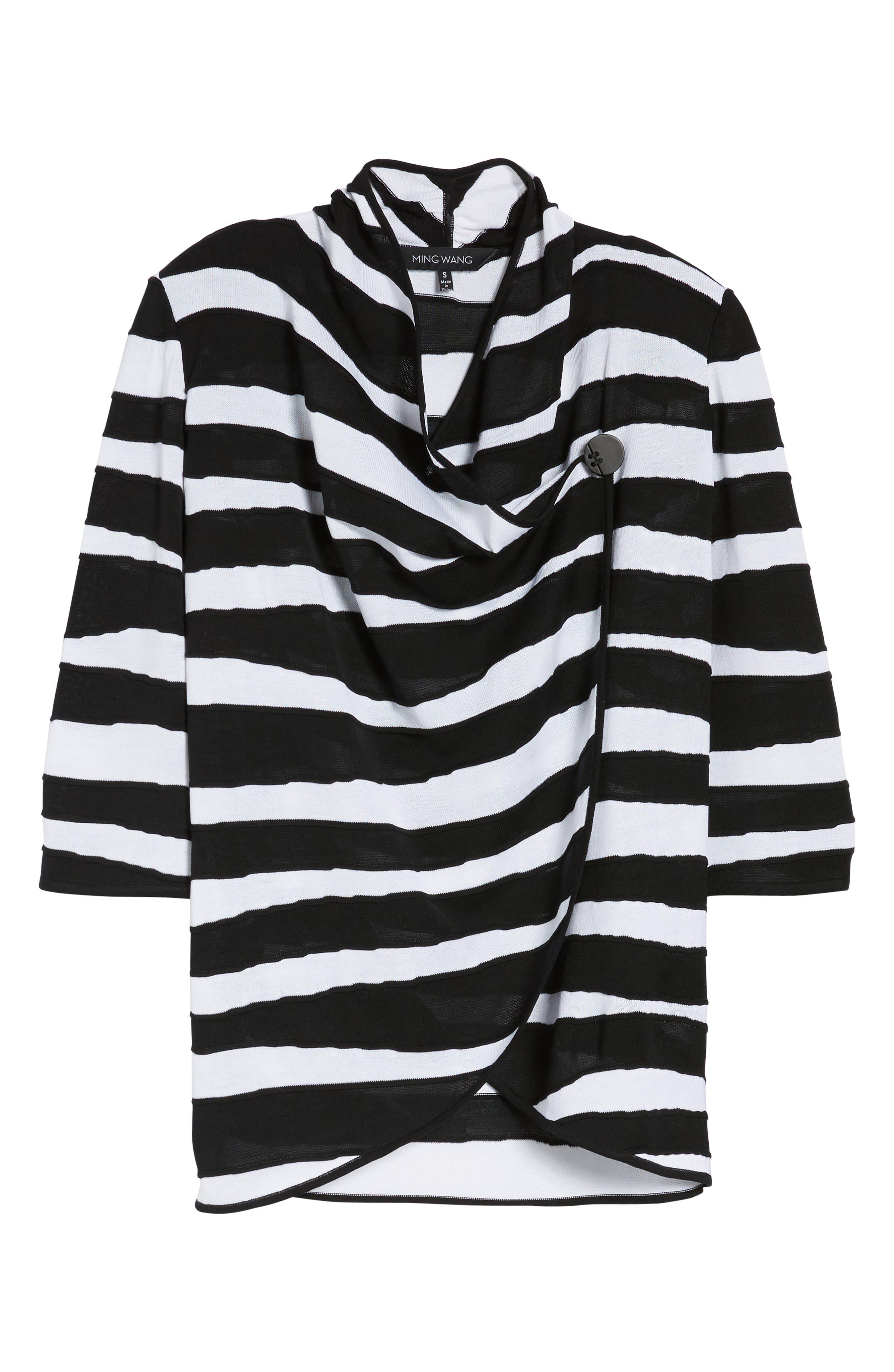 Animal Jacquard Knit Jacket,                             Alternate thumbnail 6, color,                             Black/ White