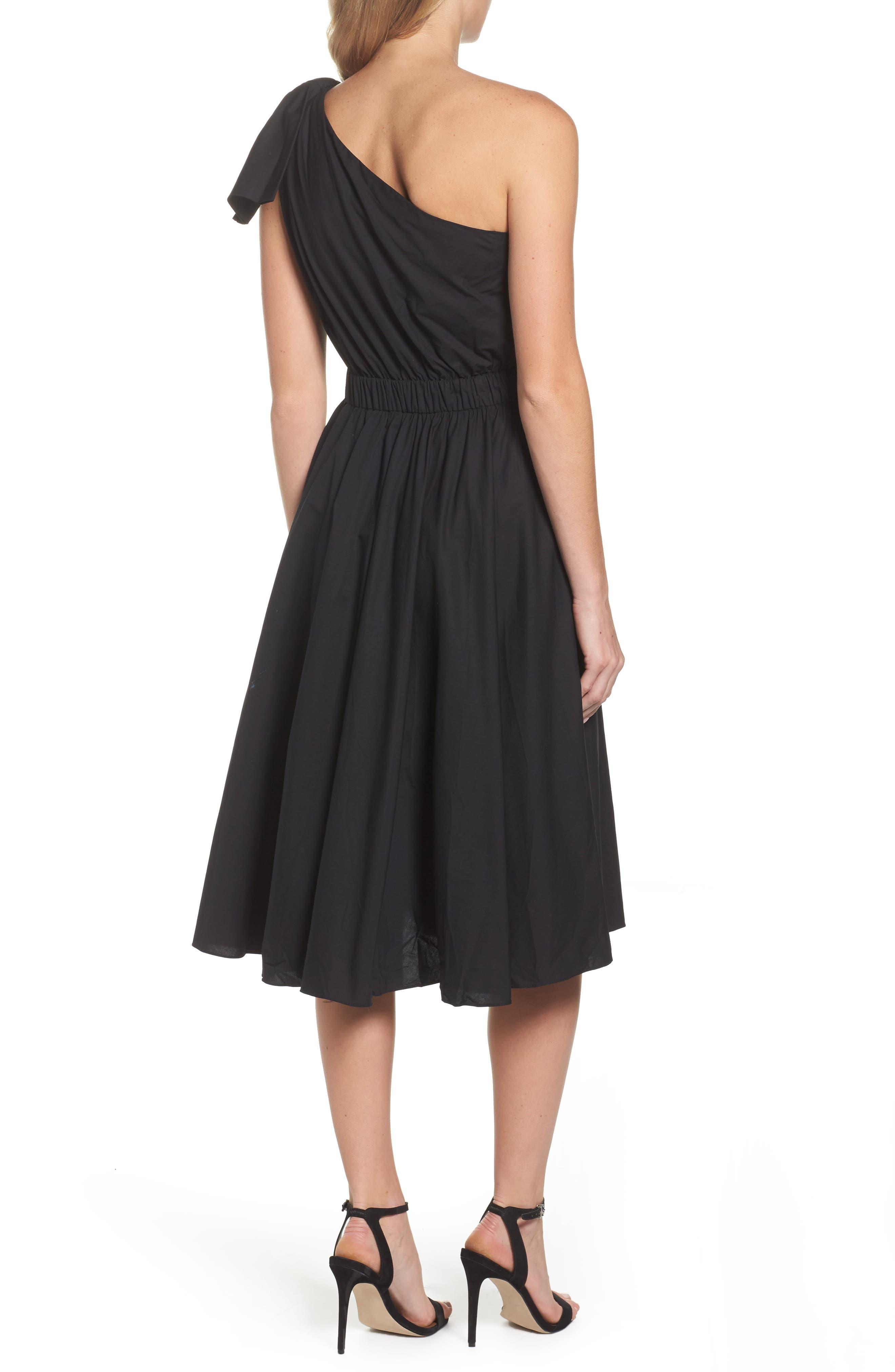 One-Shoulder Fit & Flare Dress,                             Alternate thumbnail 2, color,                             Black