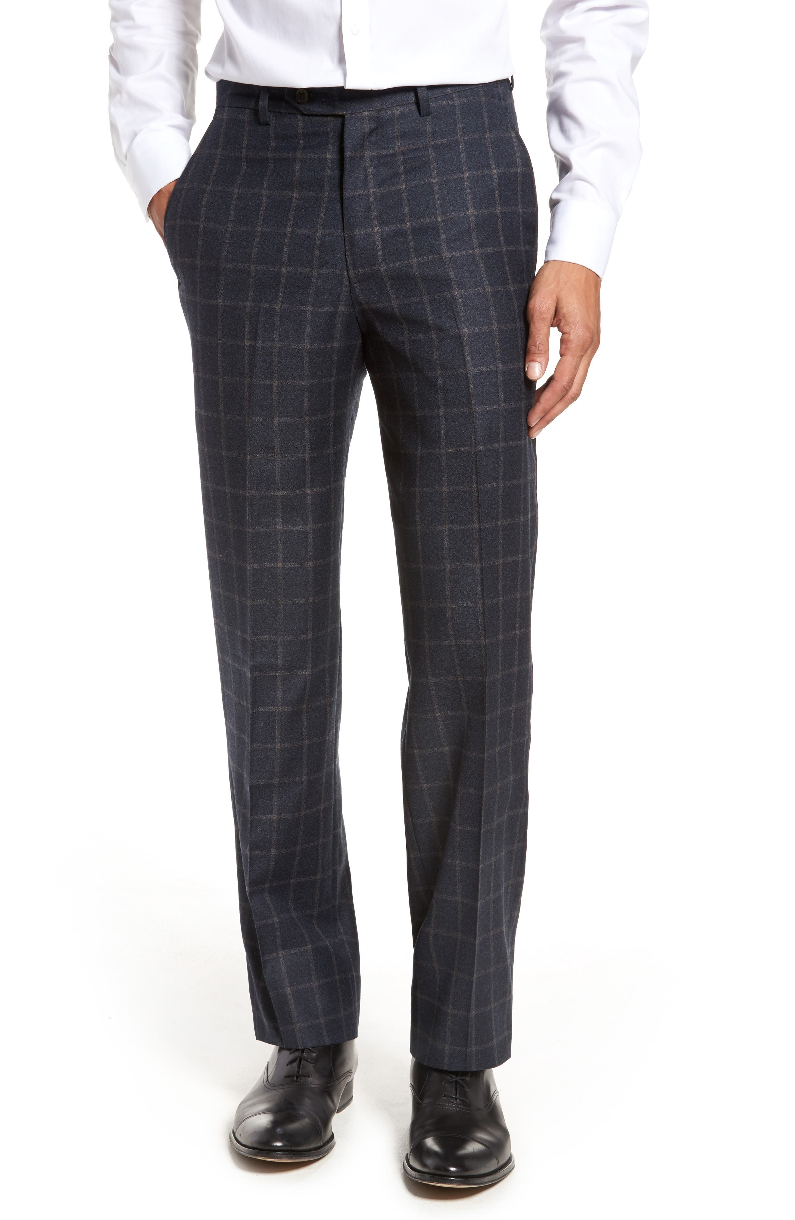 Flat Front Windowpane Wool Trousers,                         Main,                         color, Blue