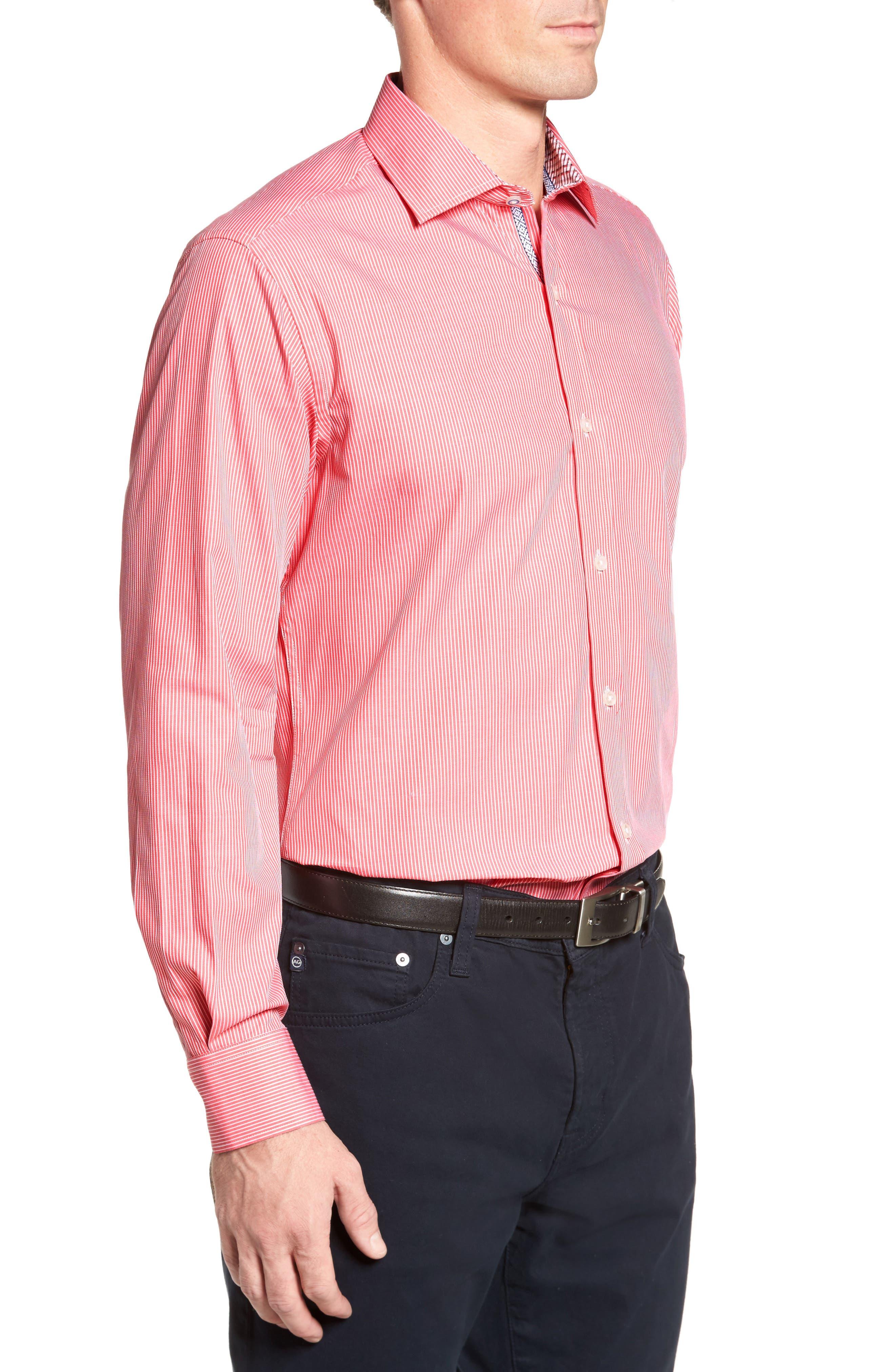 Oaksdale Stripe Sport Shirt,                             Alternate thumbnail 3, color,                             Coral