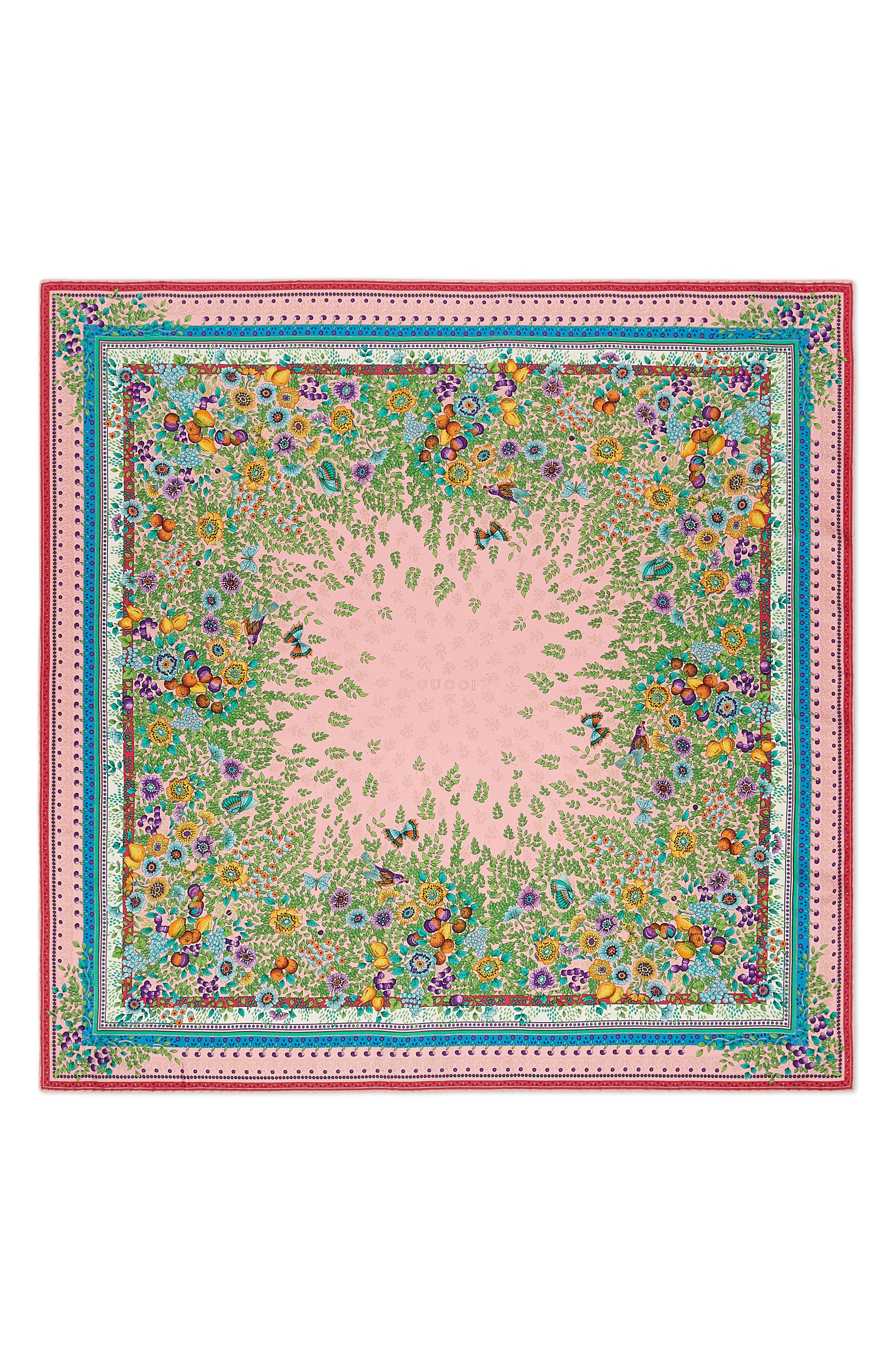 Liberty Flowers Fouland Silk Square Scarf,                             Main thumbnail 1, color,                             Pink