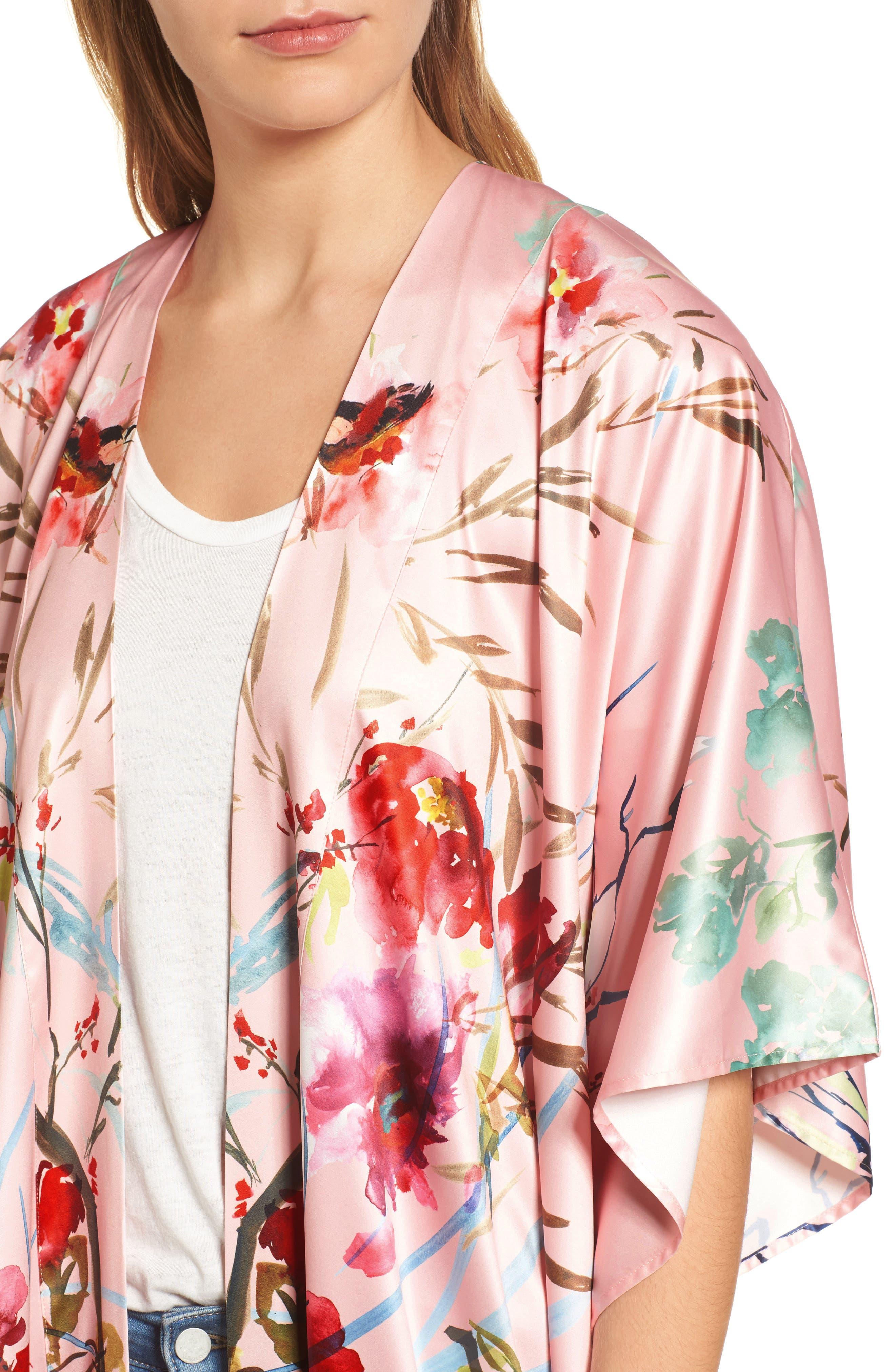 Floral Kimono,                             Alternate thumbnail 4, color,                             Pink Fantasy Garden Print