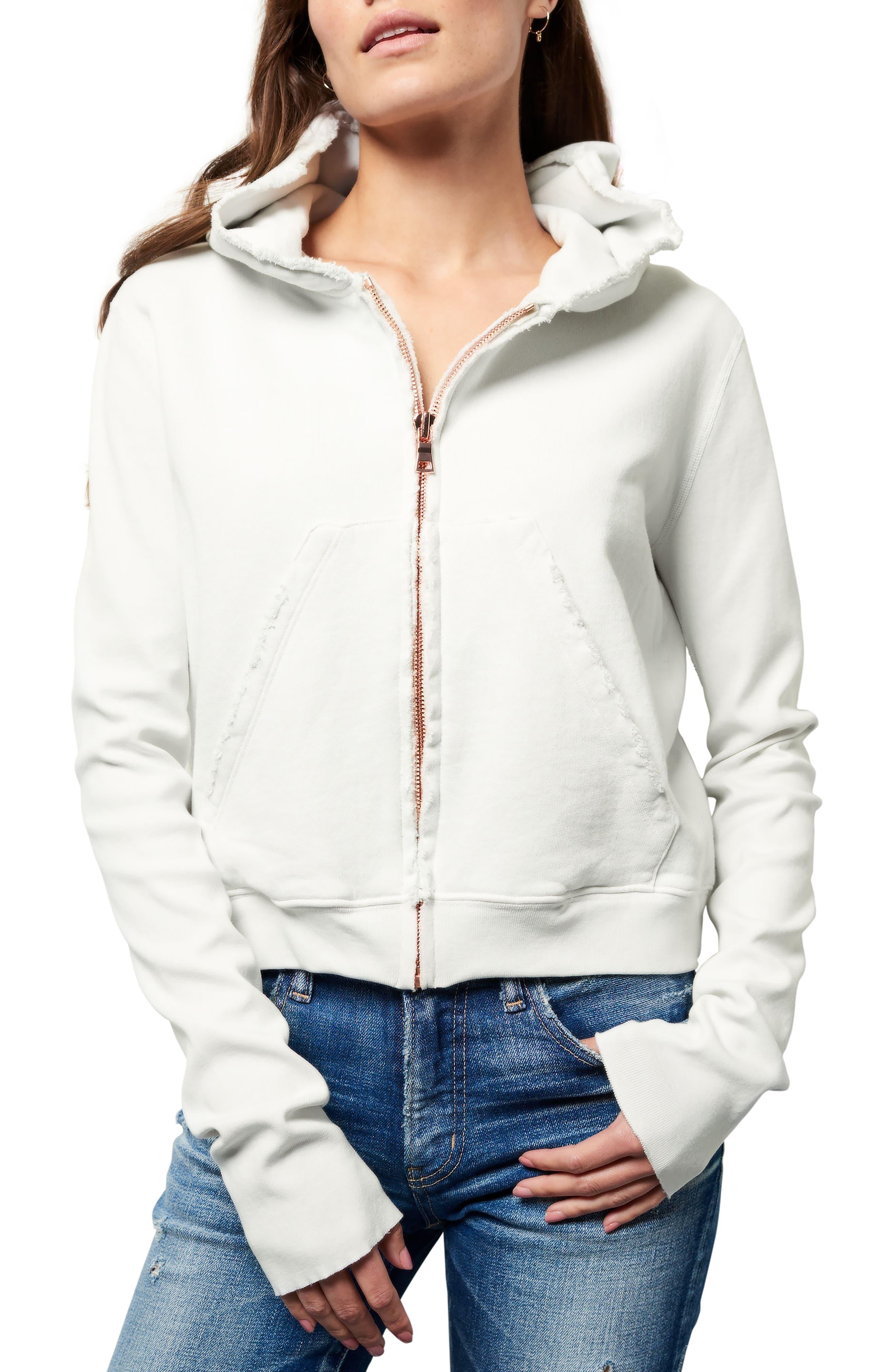 Zip Hoodie,                         Main,                         color, Dirty White