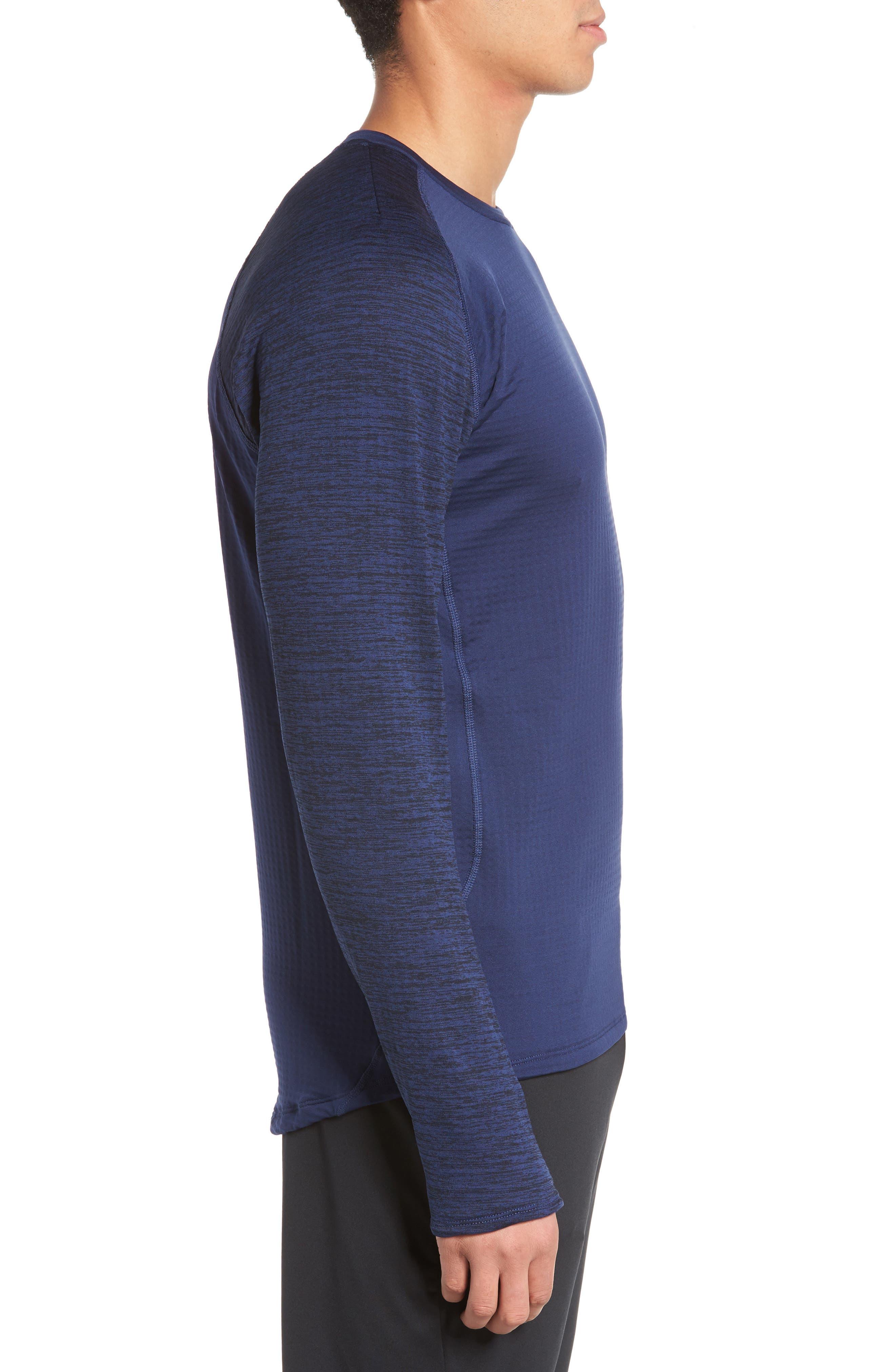 ThermaSphere Long Sleeve Running T-Shirt,                             Alternate thumbnail 7, color,                             Binary Blue/ Purple/ Heather