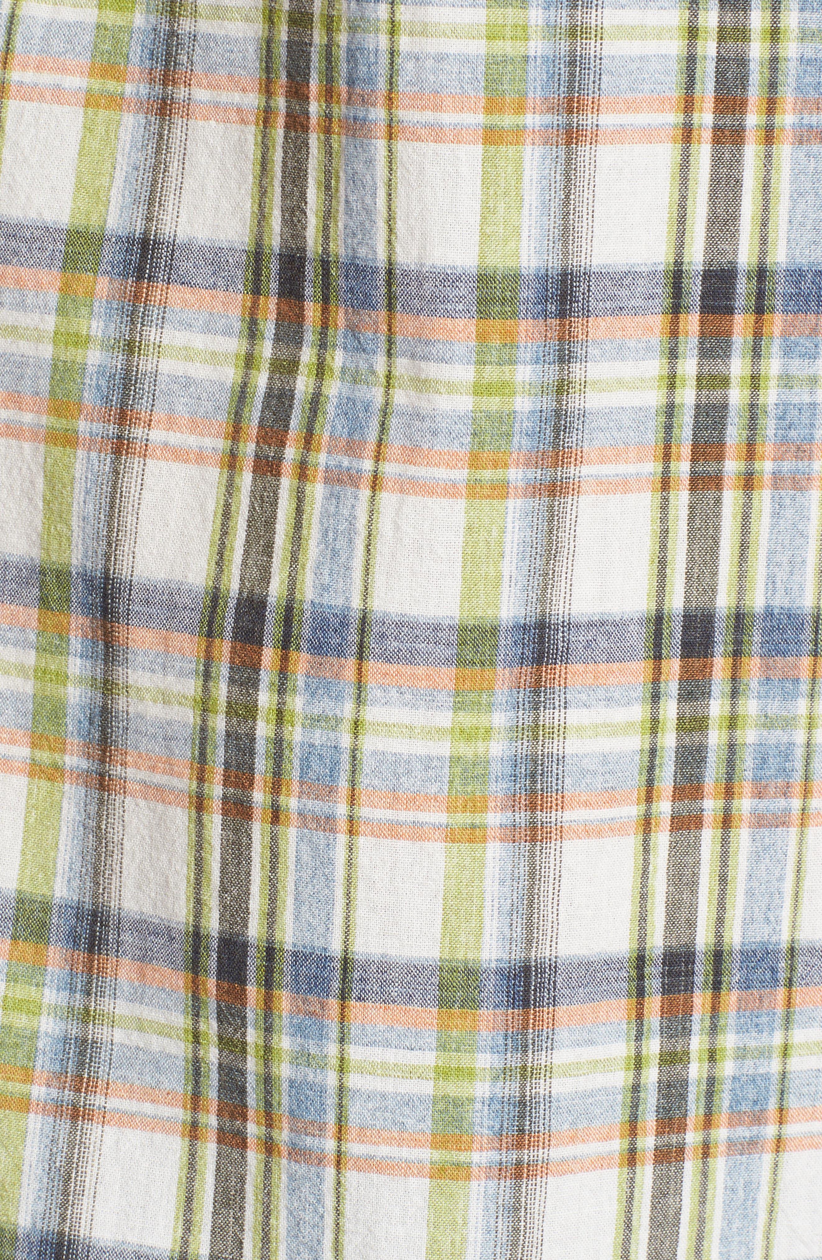 Ocean Cay Plaid Sport Shirt,                             Alternate thumbnail 5, color,                             Tart Apple