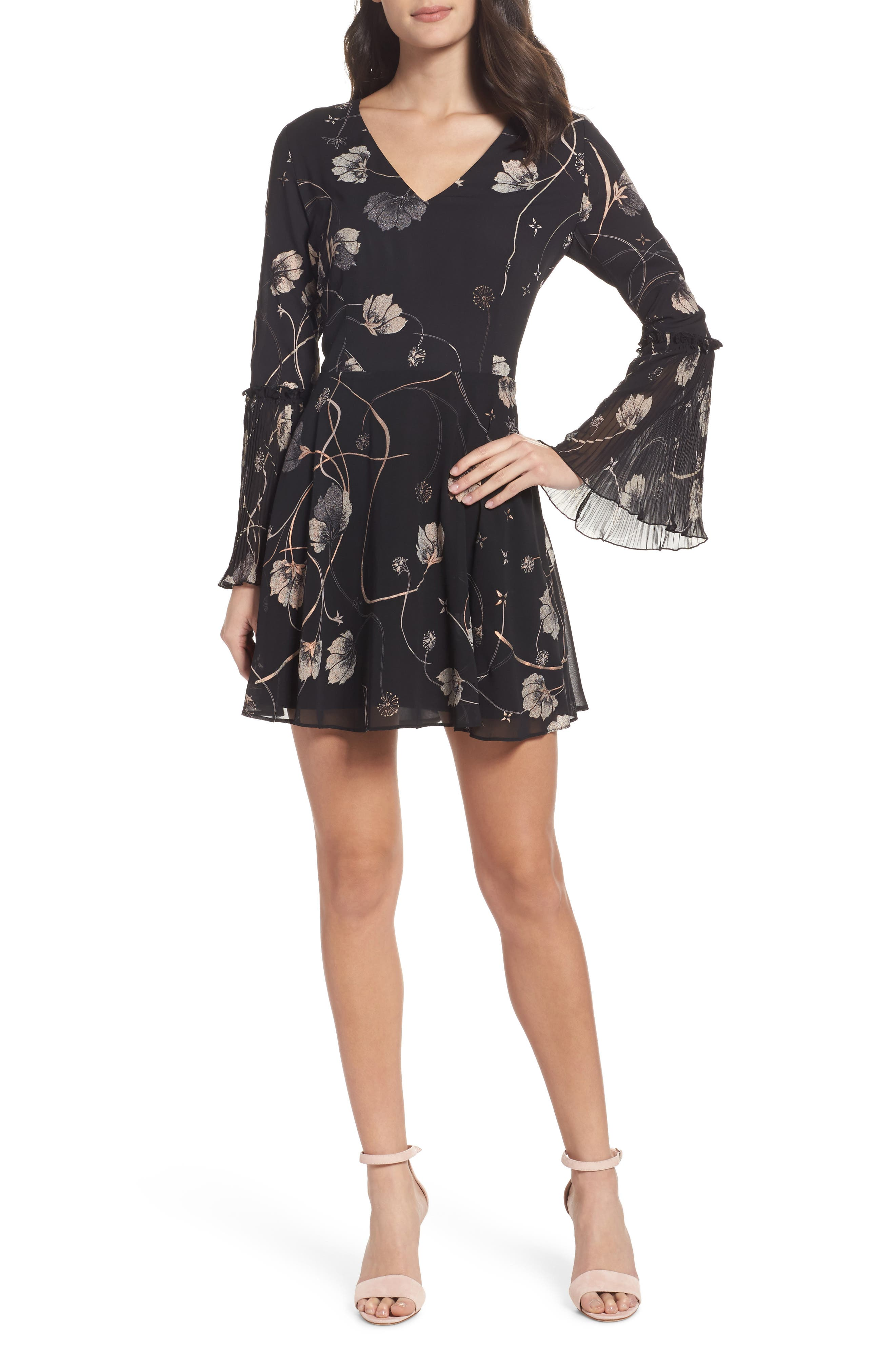 Bell Sleeve Fit & Flare Dress,                         Main,                         color, Black Cotton Swirl