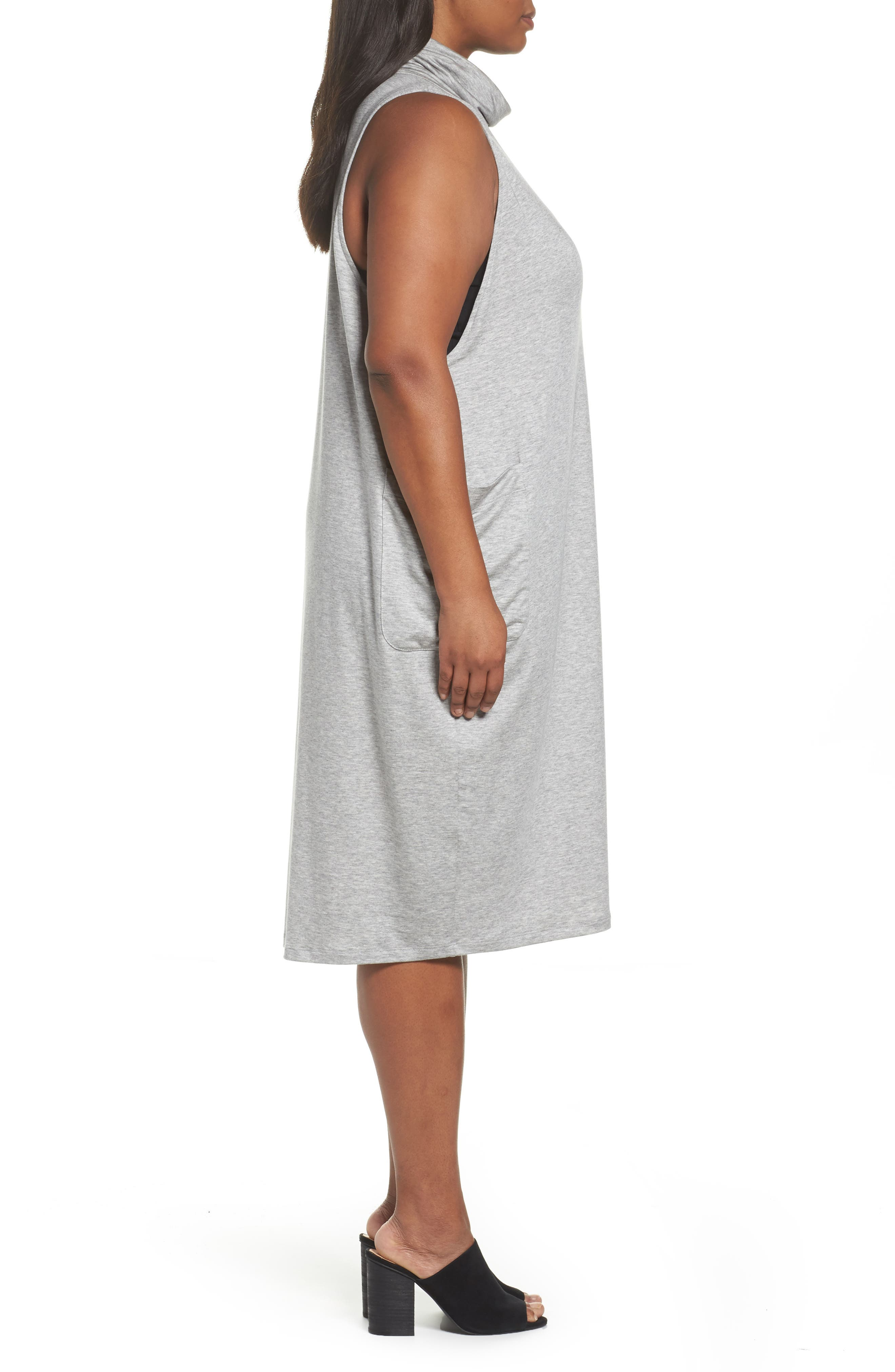 Stretch Tencel<sup>®</sup> Knit Jumper Dress,                             Alternate thumbnail 3, color,                             Grey