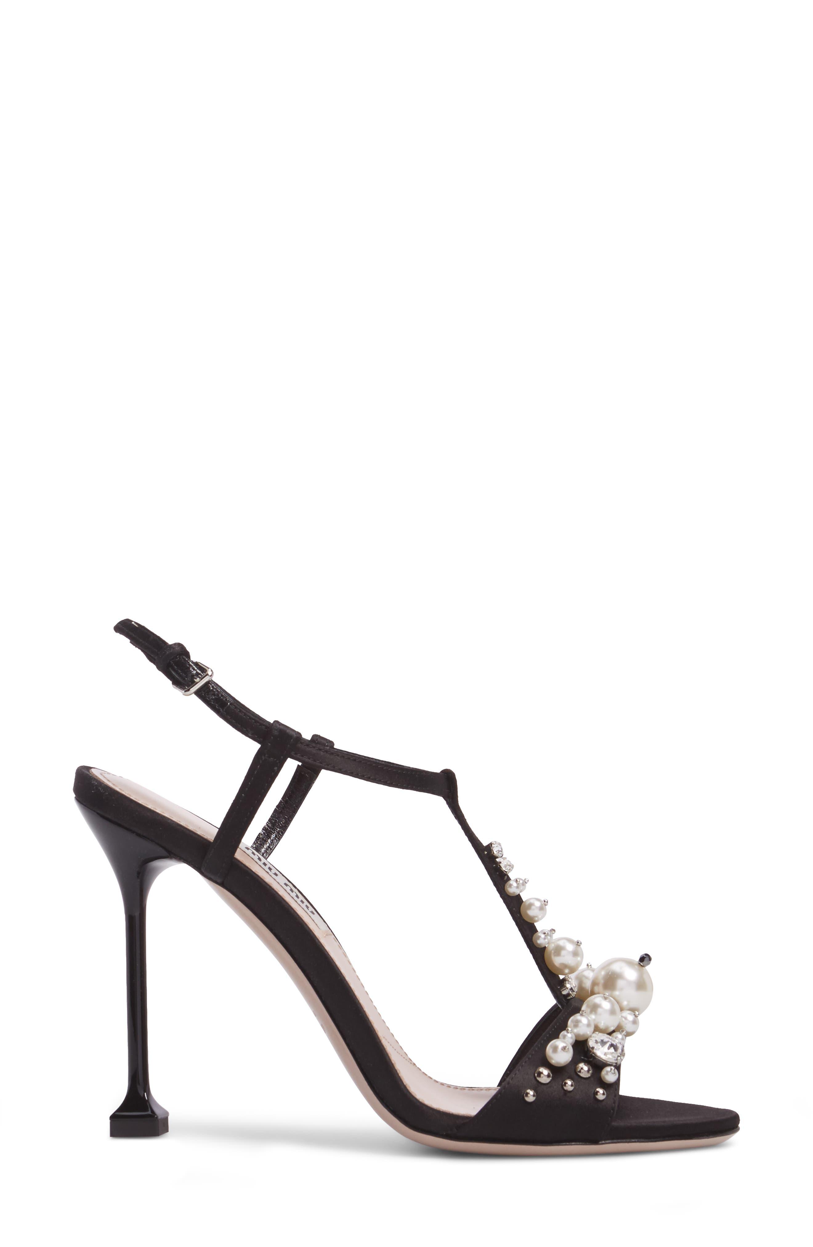 Embellished T-Strap Sandal,                             Alternate thumbnail 3, color,                             Black