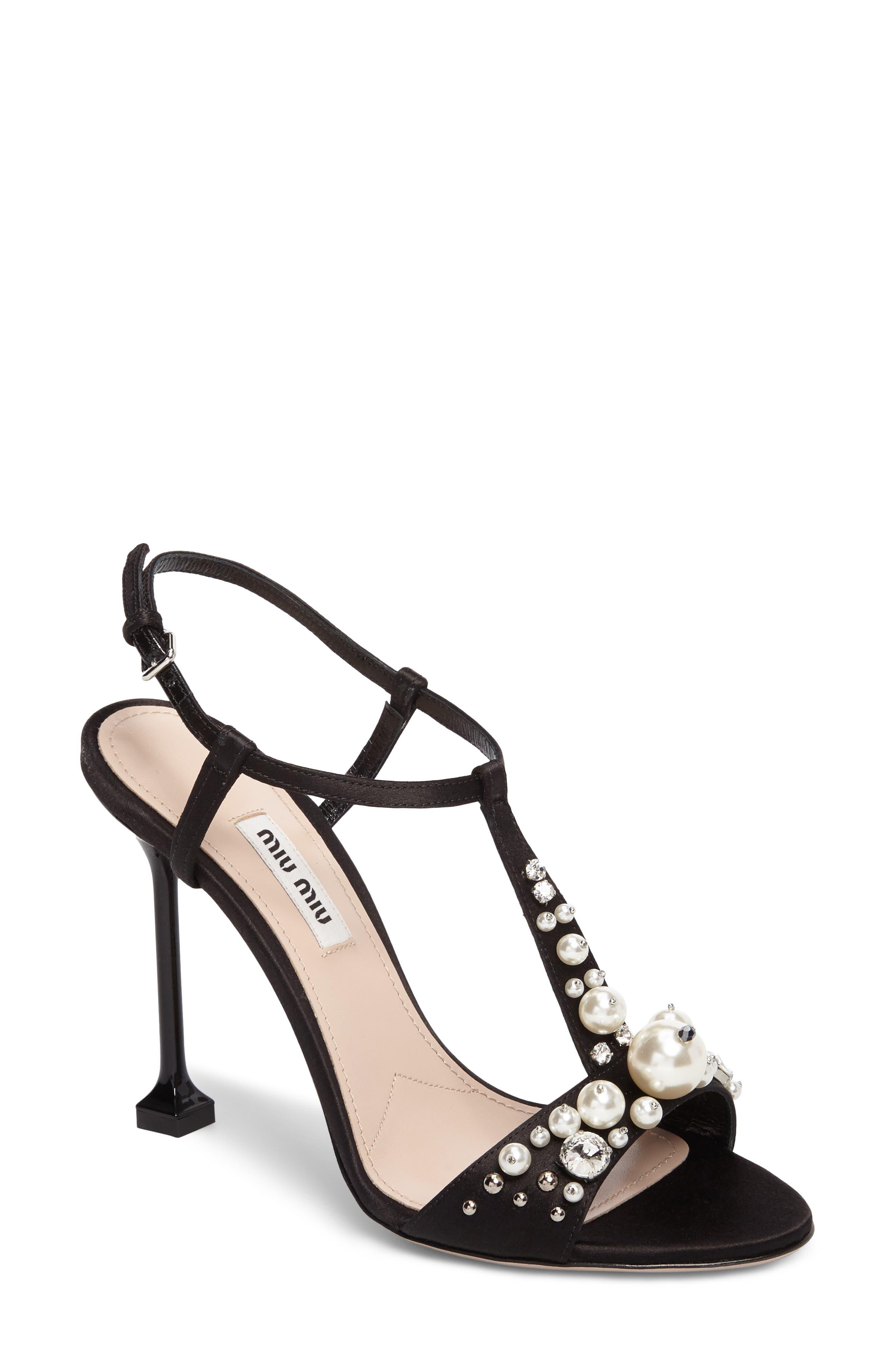 Miu Miu Embellished T-Strap Sandal (Women)