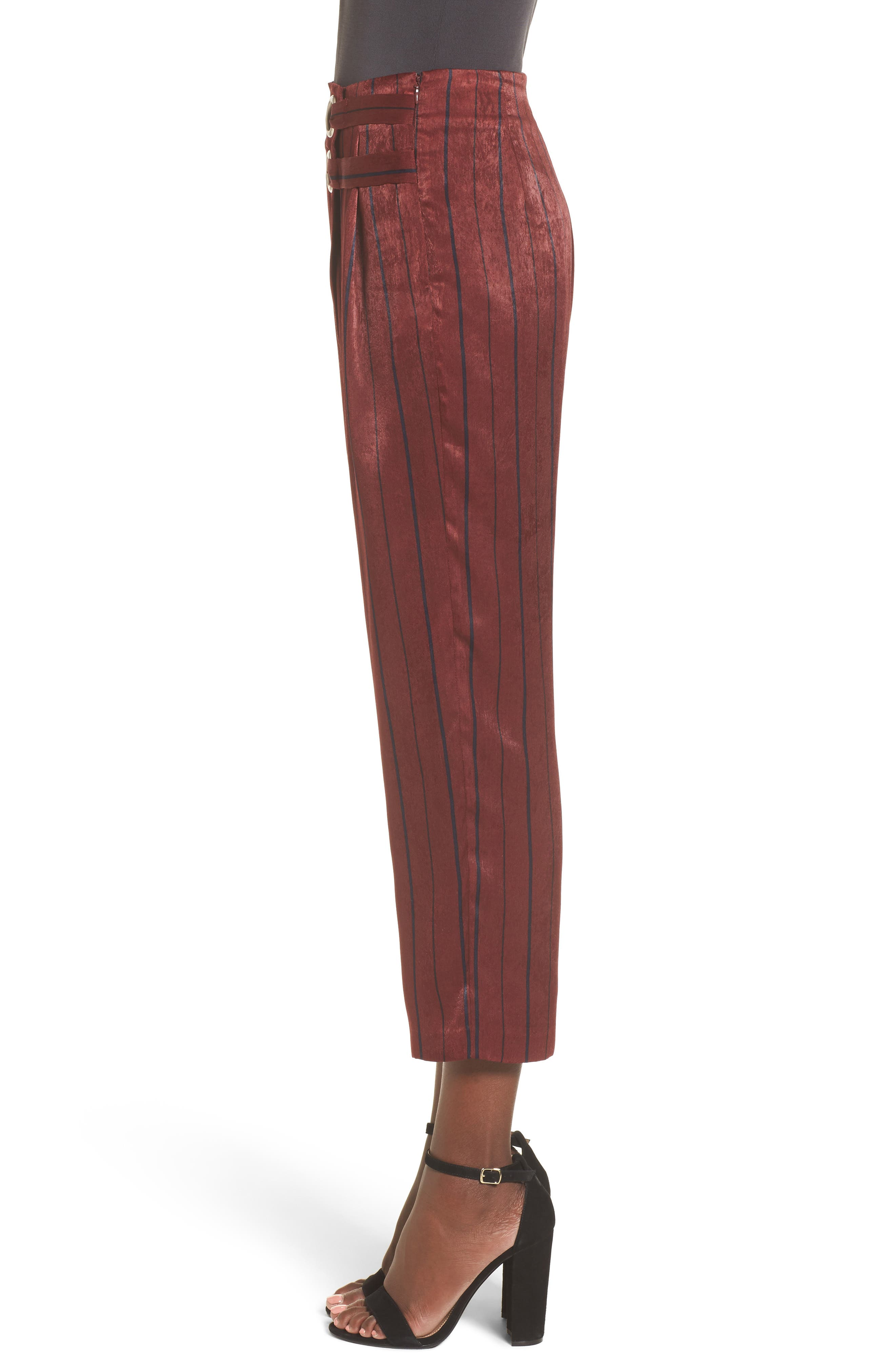 Stripe Crop Pants,                             Alternate thumbnail 4, color,                             Wine Multi