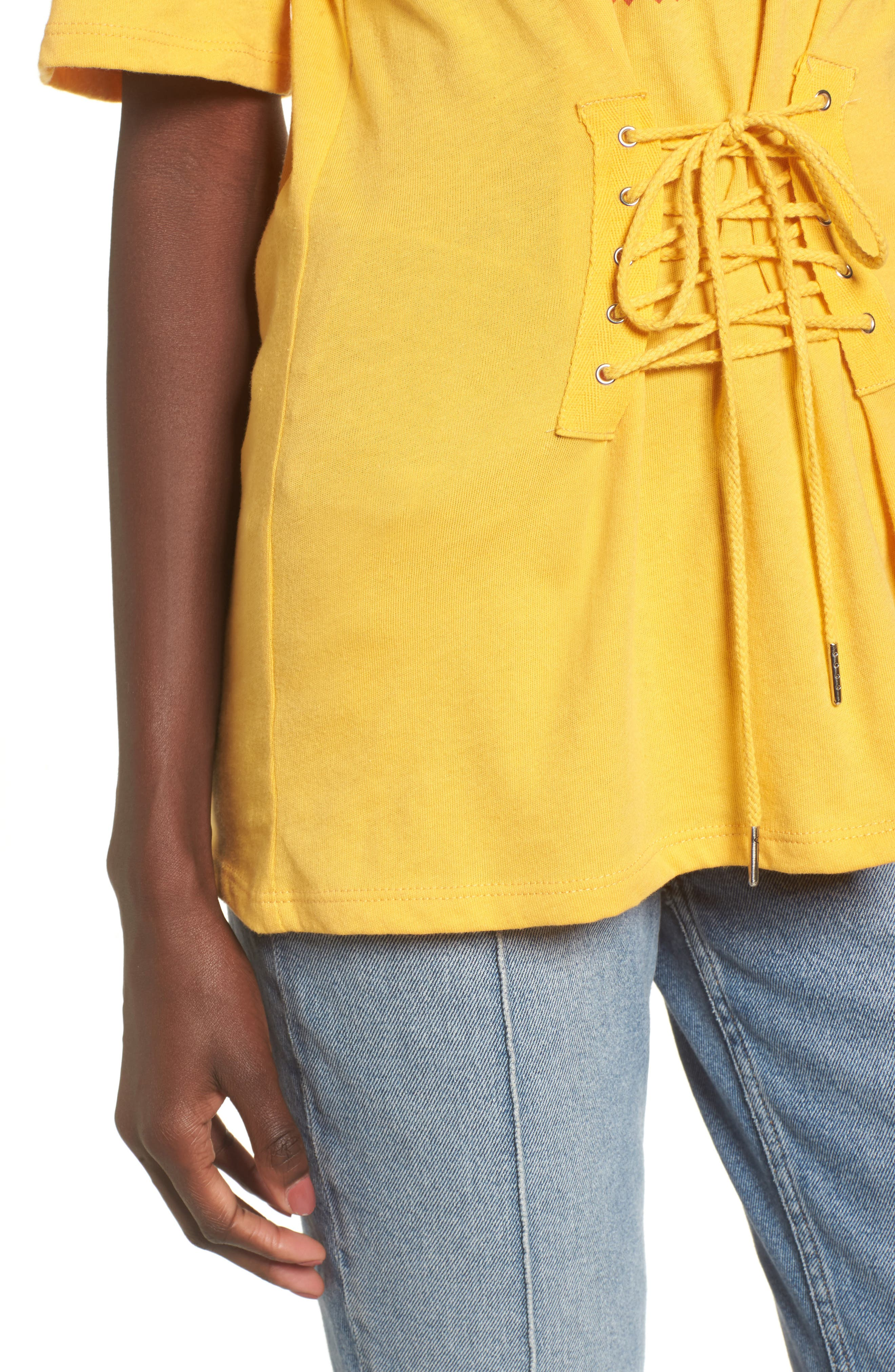 Corset Band Tee,                             Alternate thumbnail 4, color,                             Yellow Spruce