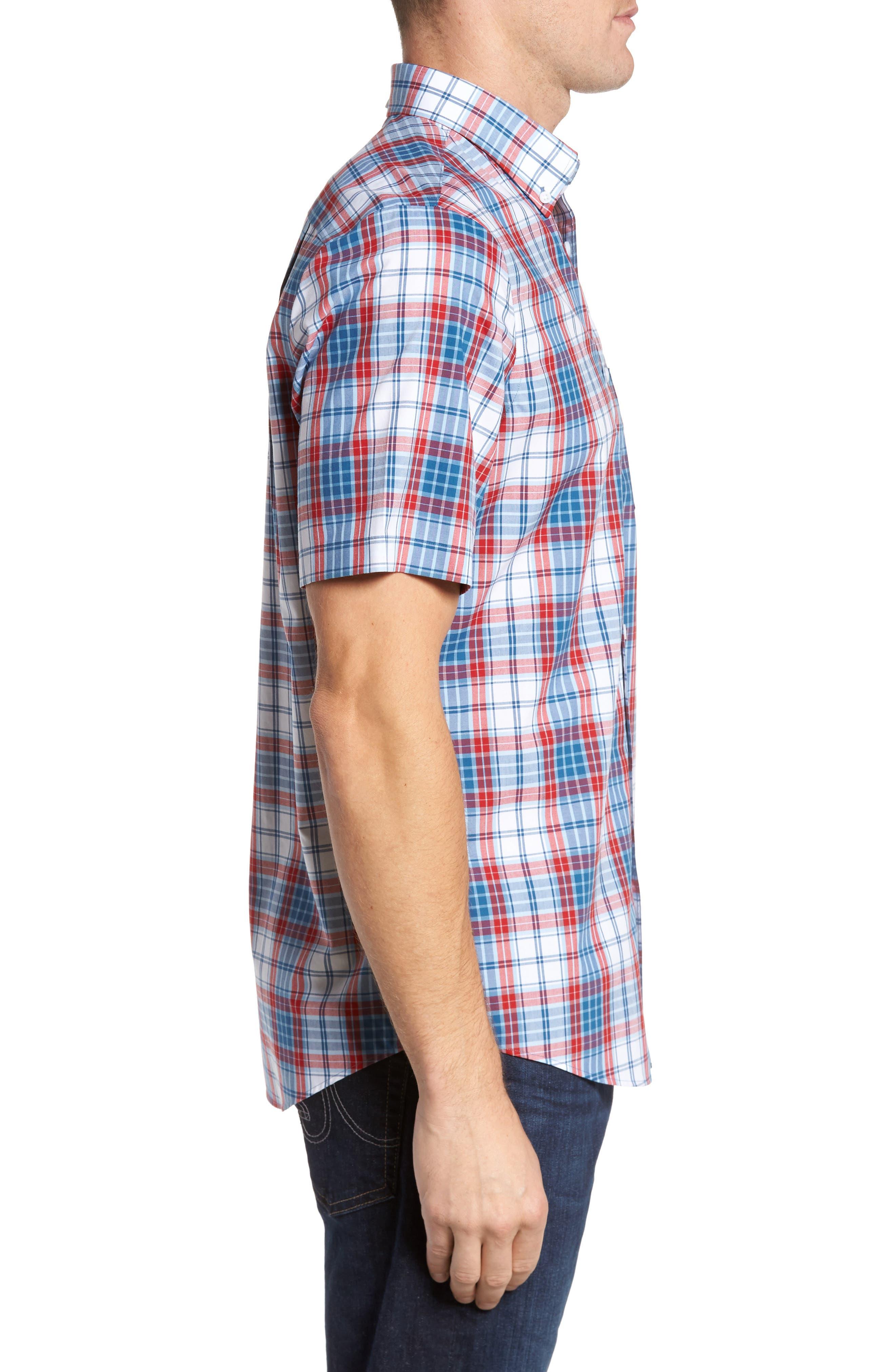 Smartcare<sup>™</sup> Regular Fit Plaid Sport Shirt,                             Alternate thumbnail 3, color,                             White Red Heather Tartan