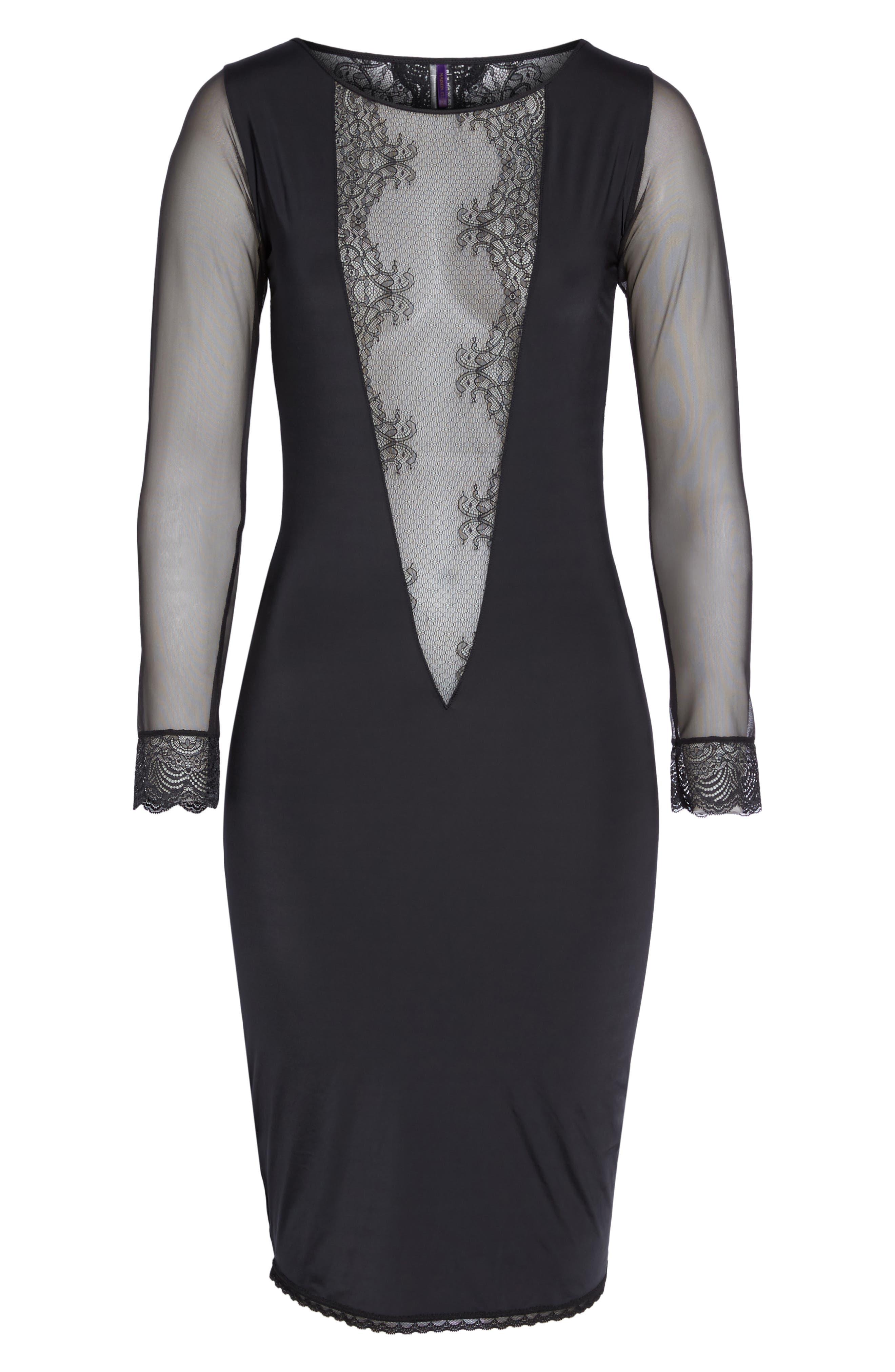 La Directrice Sheer Dress,                             Alternate thumbnail 4, color,                             Black