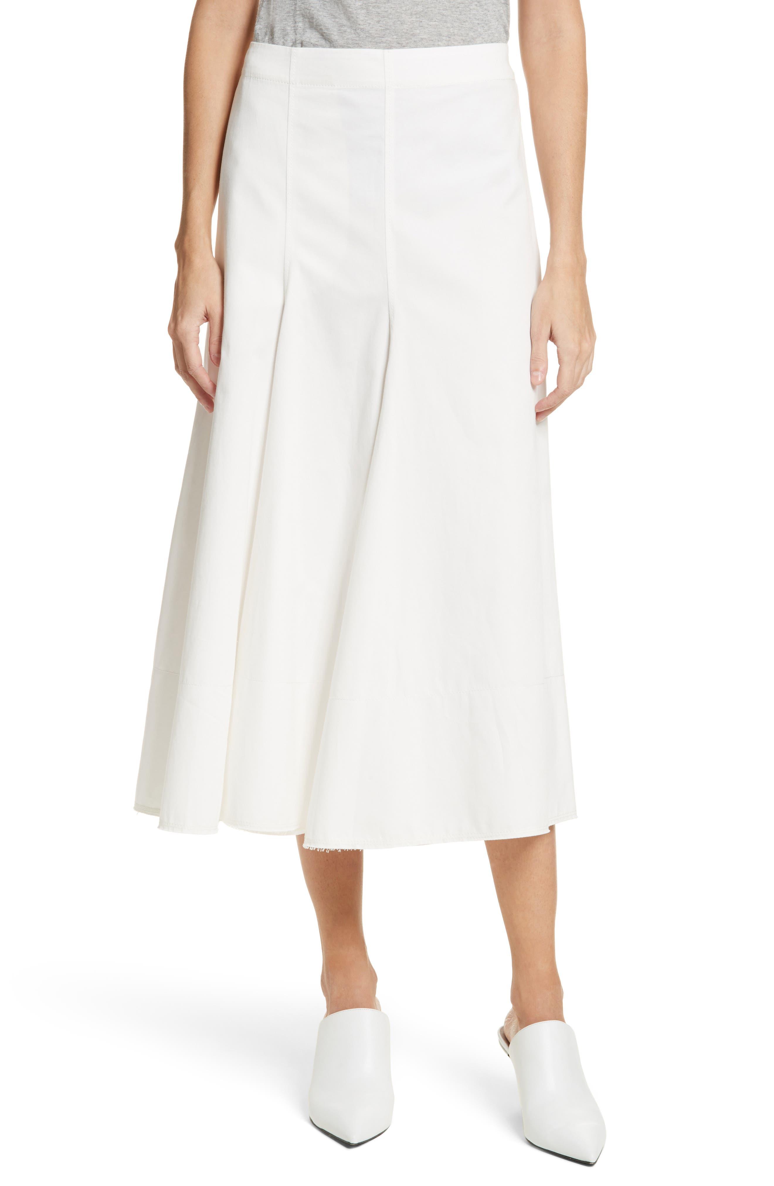 Twill Chino Midi Skirt,                         Main,                         color, Ecru