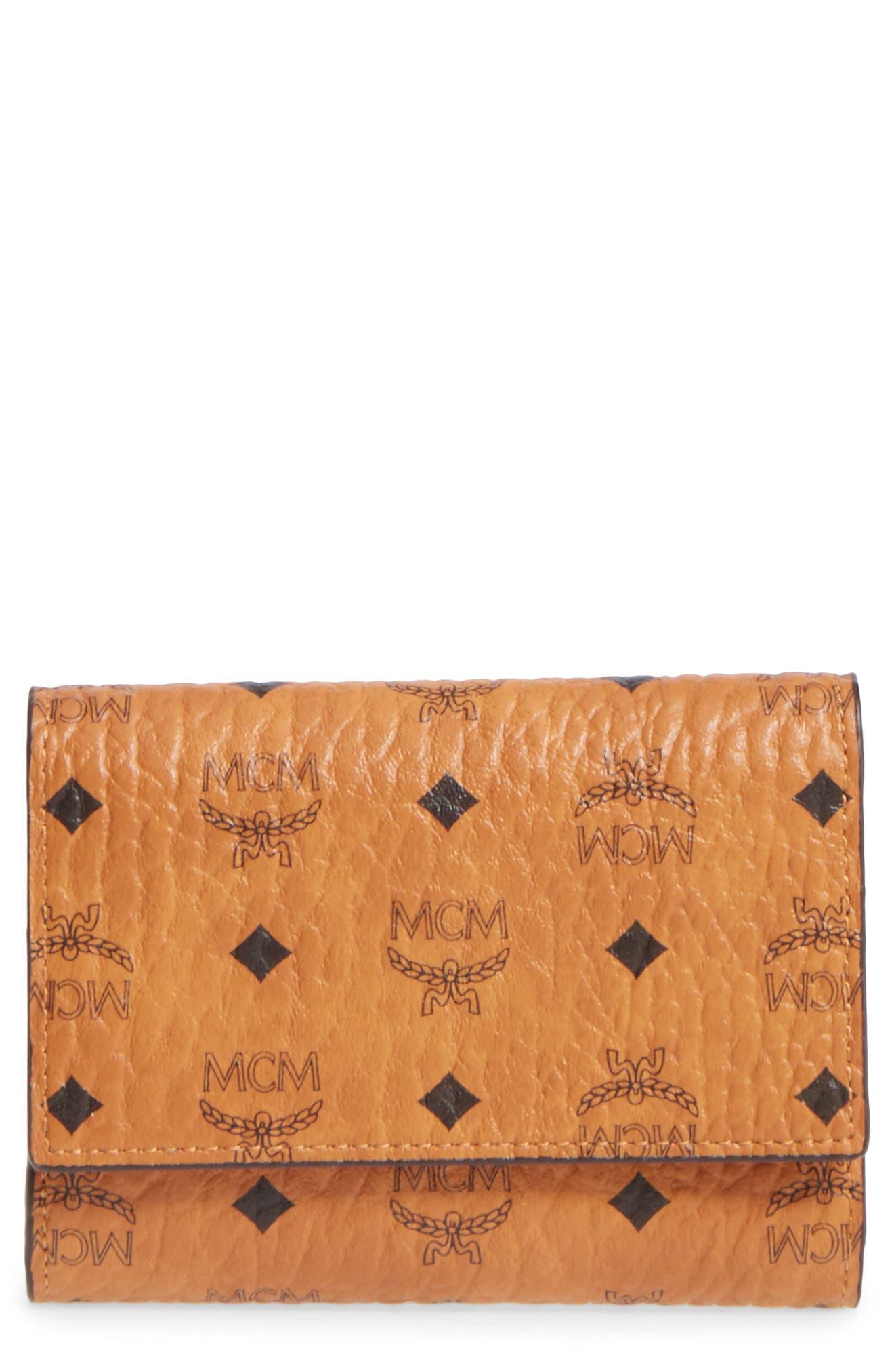 Original Small Visetos Trifold Wallet,                         Main,                         color, Cognac