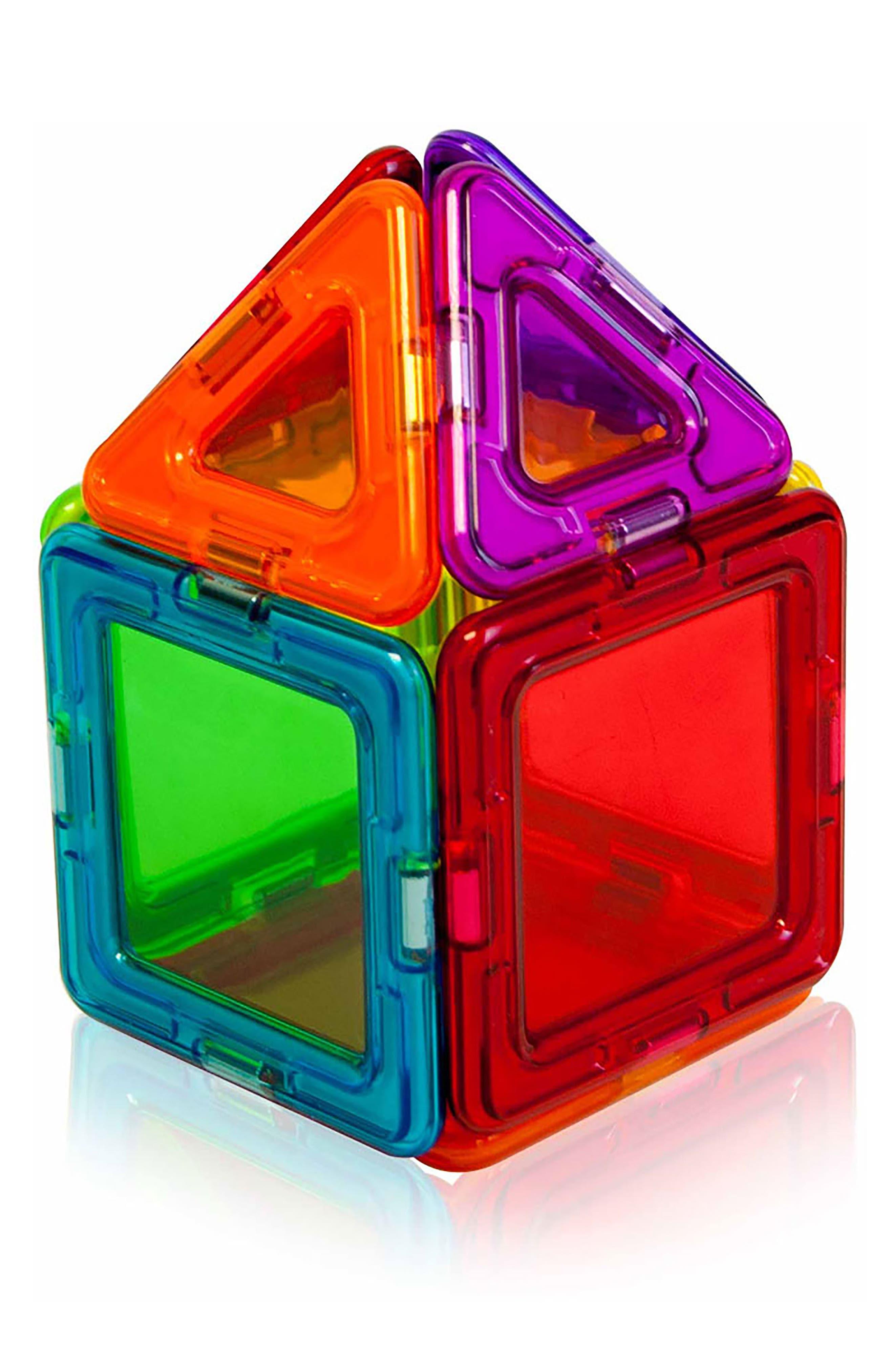 14-Piece Rainbow Clear Solid Magnetic 3D Construction Set,                             Alternate thumbnail 3, color,                             Multi