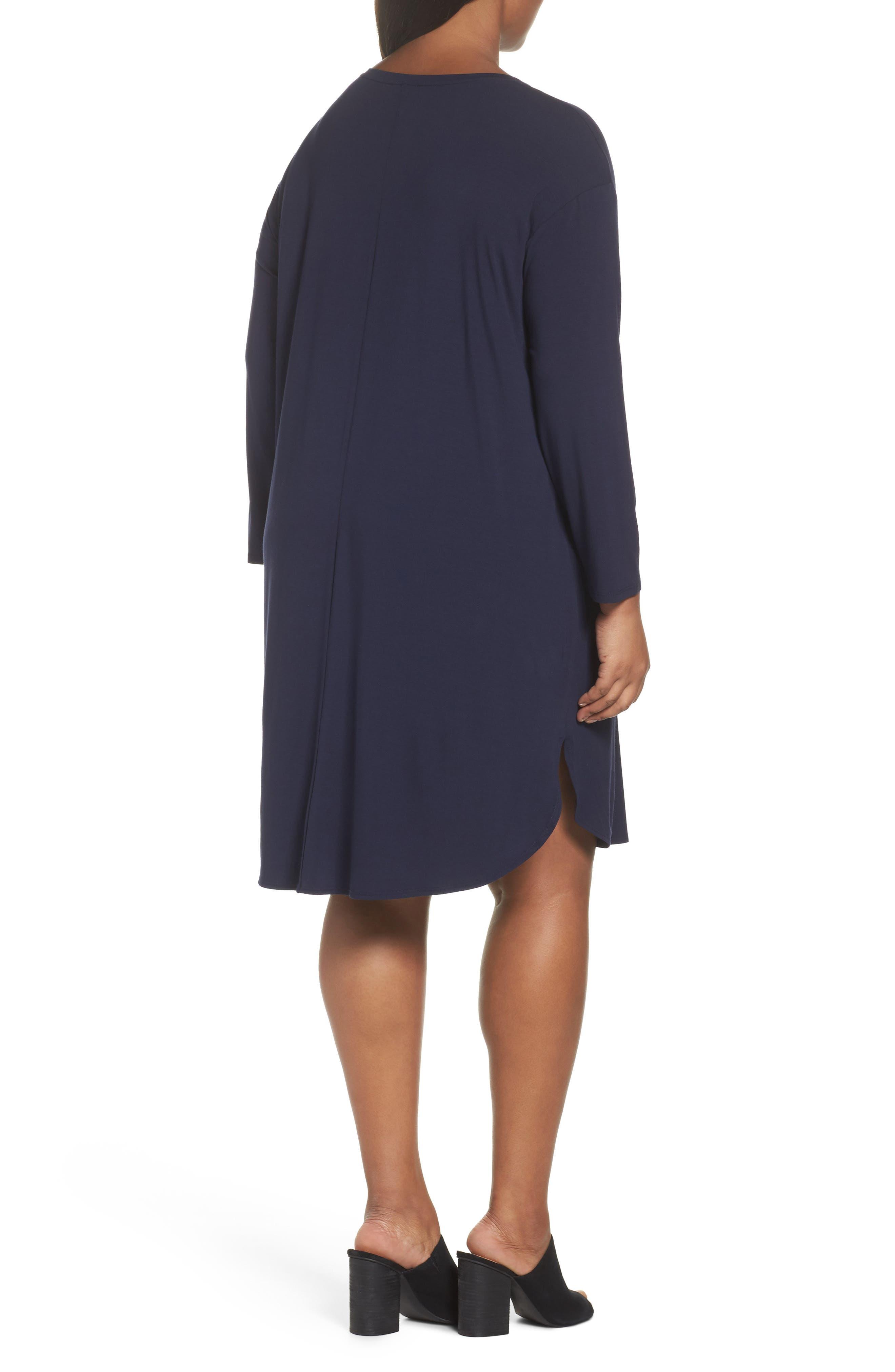 Jersey Shift Dress,                             Alternate thumbnail 2, color,                             Midnight