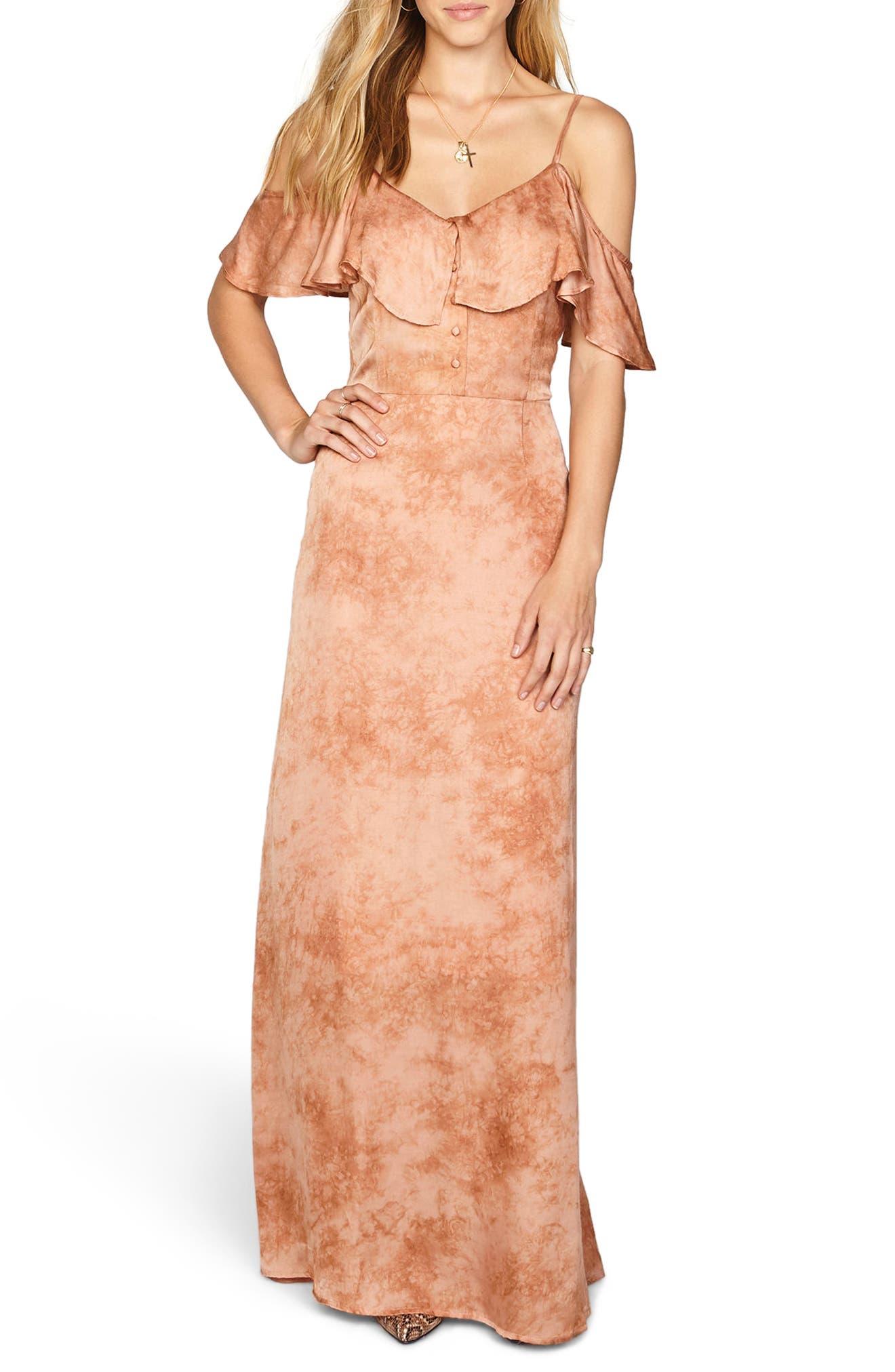 Lost Paradise Off the Shoulder Maxi Dress,                         Main,                         color, Rose Dawn