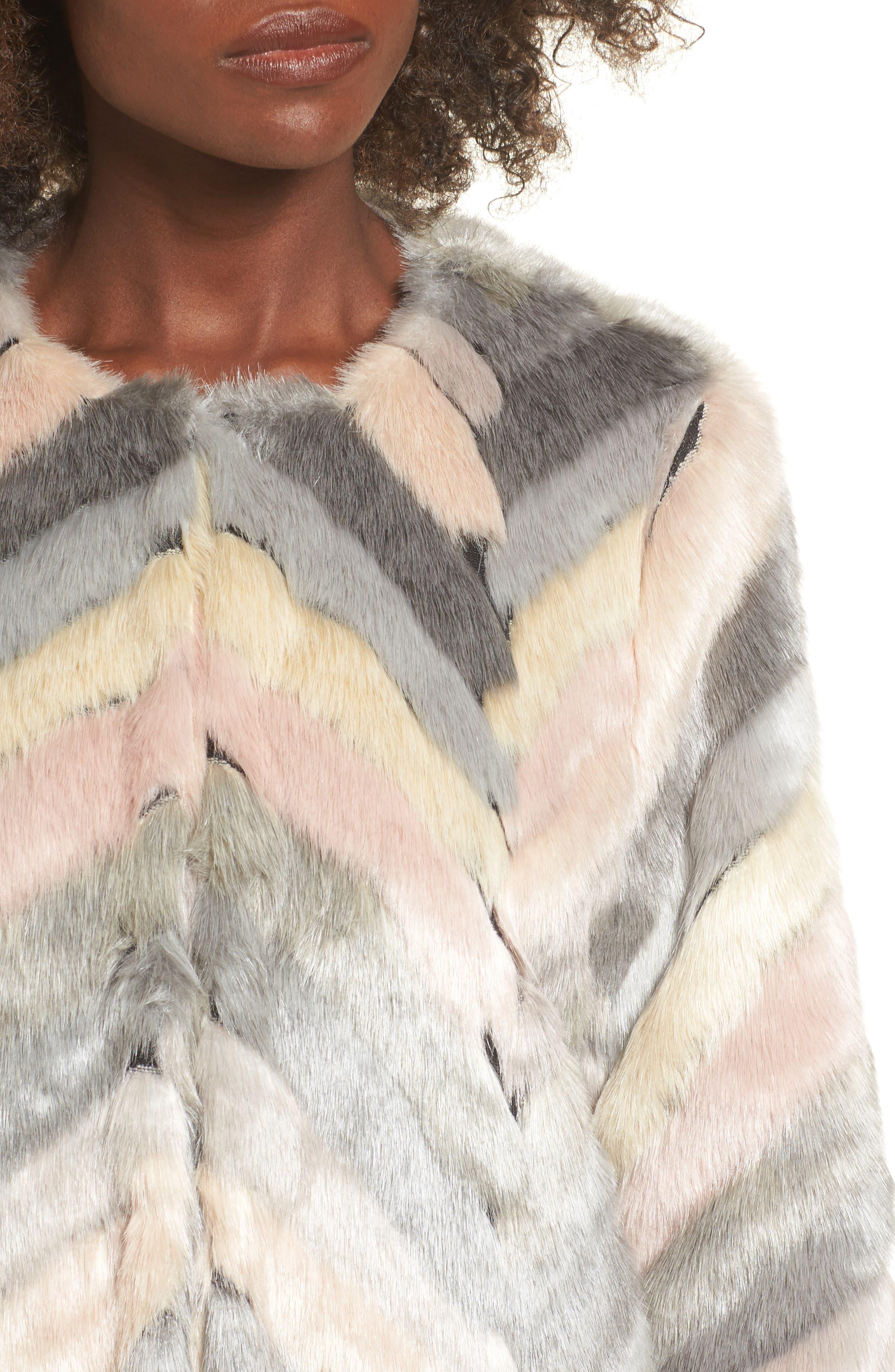 Voila Faux Fur Jacket,                             Alternate thumbnail 4, color,                             Multi