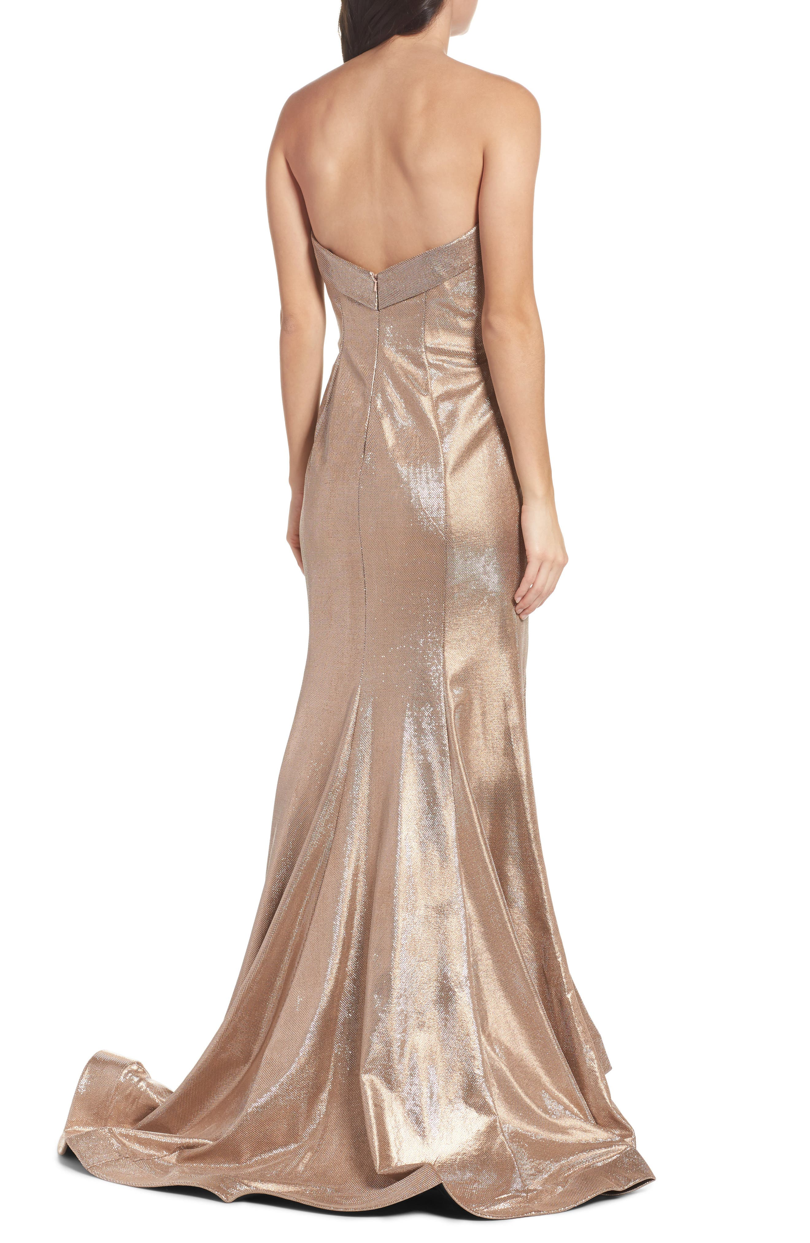 Metallic Mermaid Gown,                             Alternate thumbnail 2, color,                             Nude/Silver