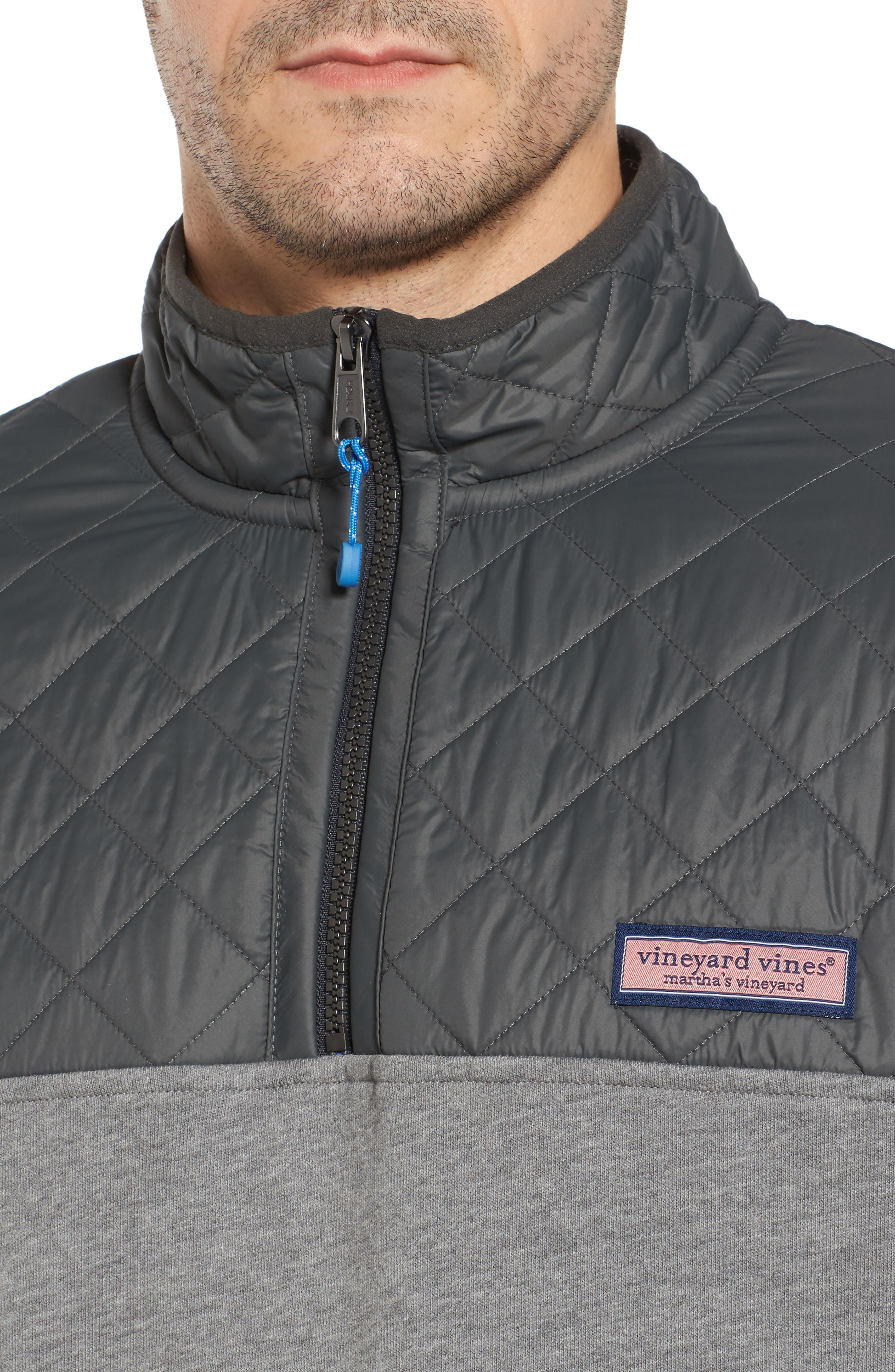 Shep Performance Quilted Yoke Quarter Zip Pullover,                             Alternate thumbnail 4, color,                             Medium Heather Grey