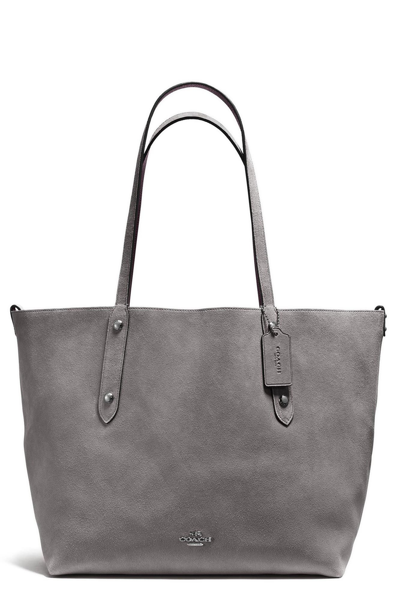 Large Market Reversible Leather Tote,                             Main thumbnail 1, color,                             Heather Grey/ Ox