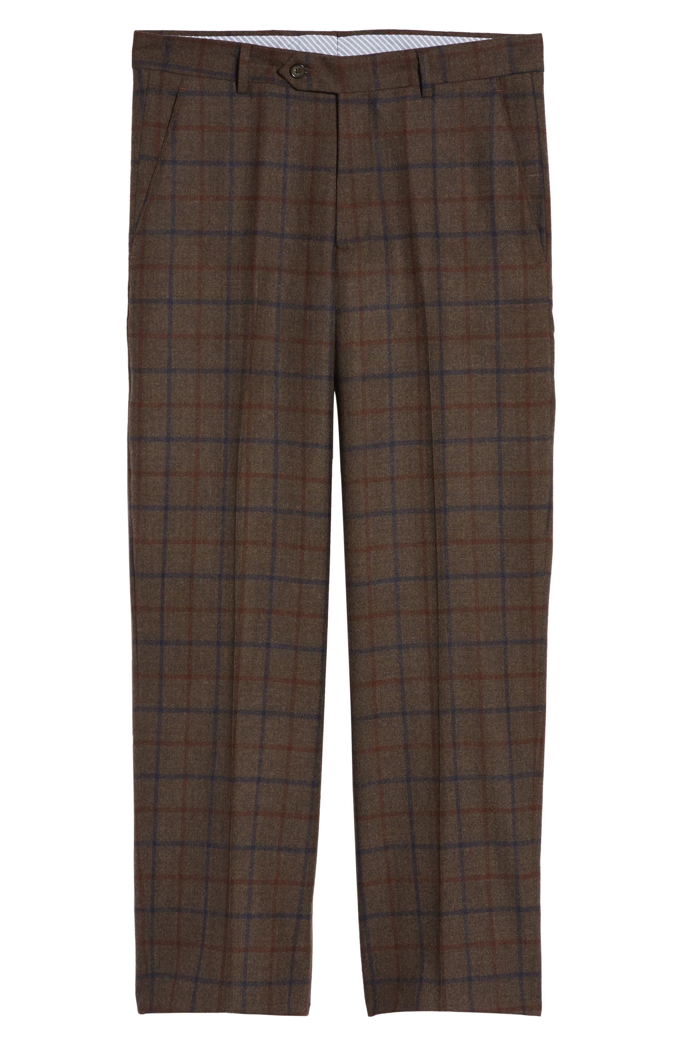Alternate Image 6  - Berle Flat Front Windowpane Wool Trousers