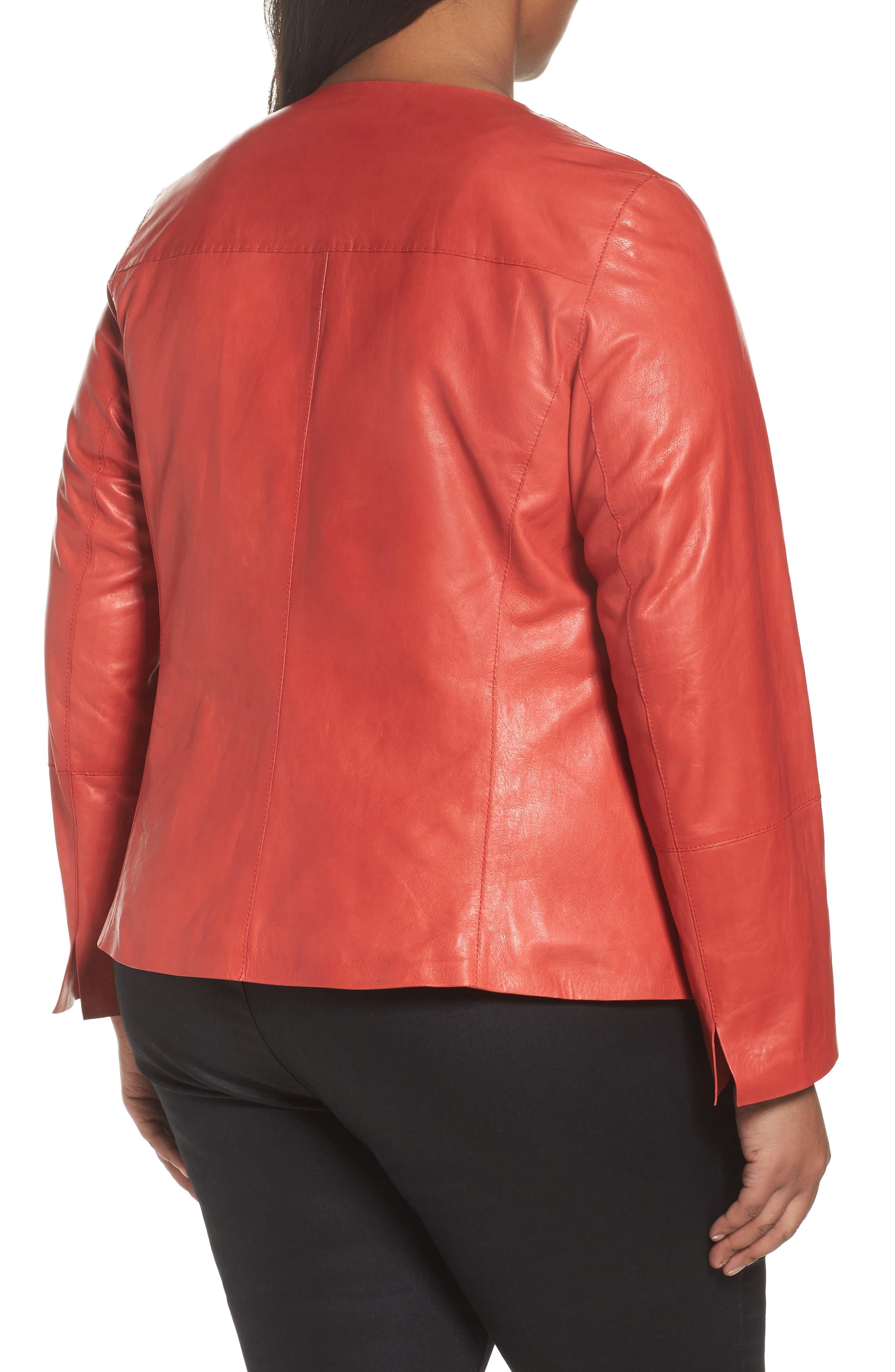 Alternate Image 2  - Lafayette 148 New York Caridee Glazed Lambskin Leather Jacket (Plus Size)