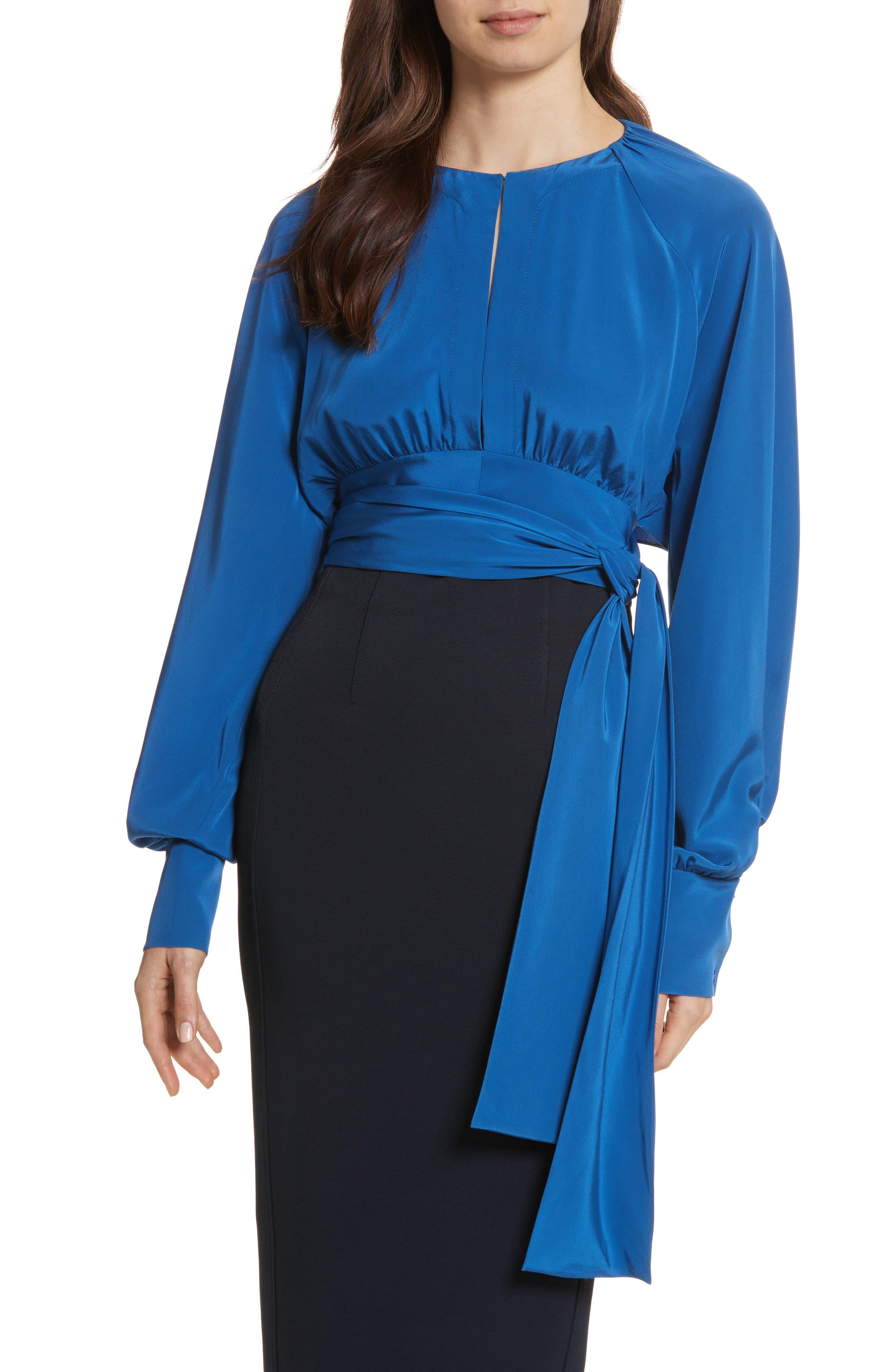 Diane von Furstenberg Keyhole Silk Blouse,                         Main,                         color, Hydrangea