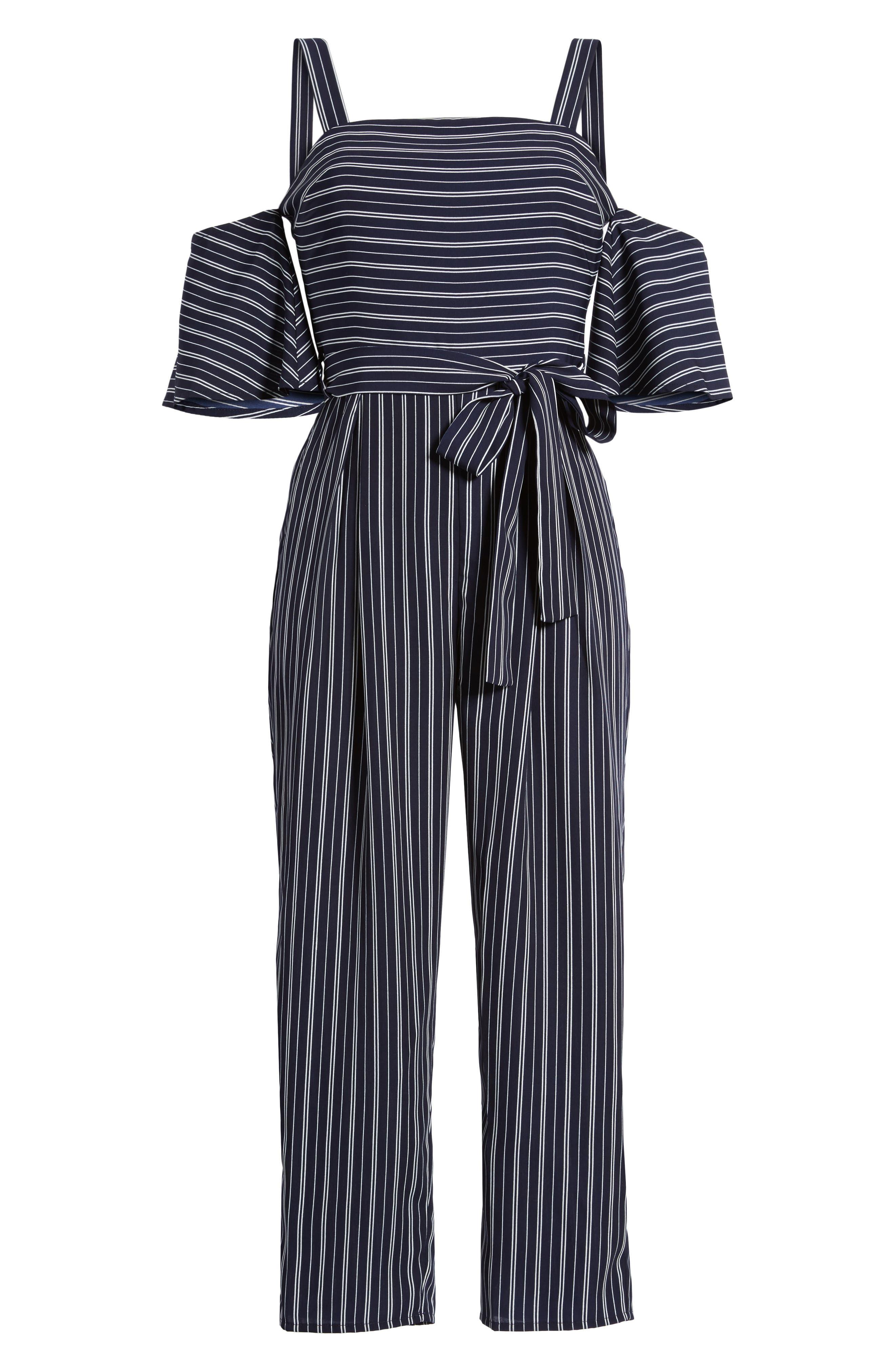 Stripe Off the Shoulder Crop Jumpsuit,                             Alternate thumbnail 6, color,                             Navy Ivory Stripe
