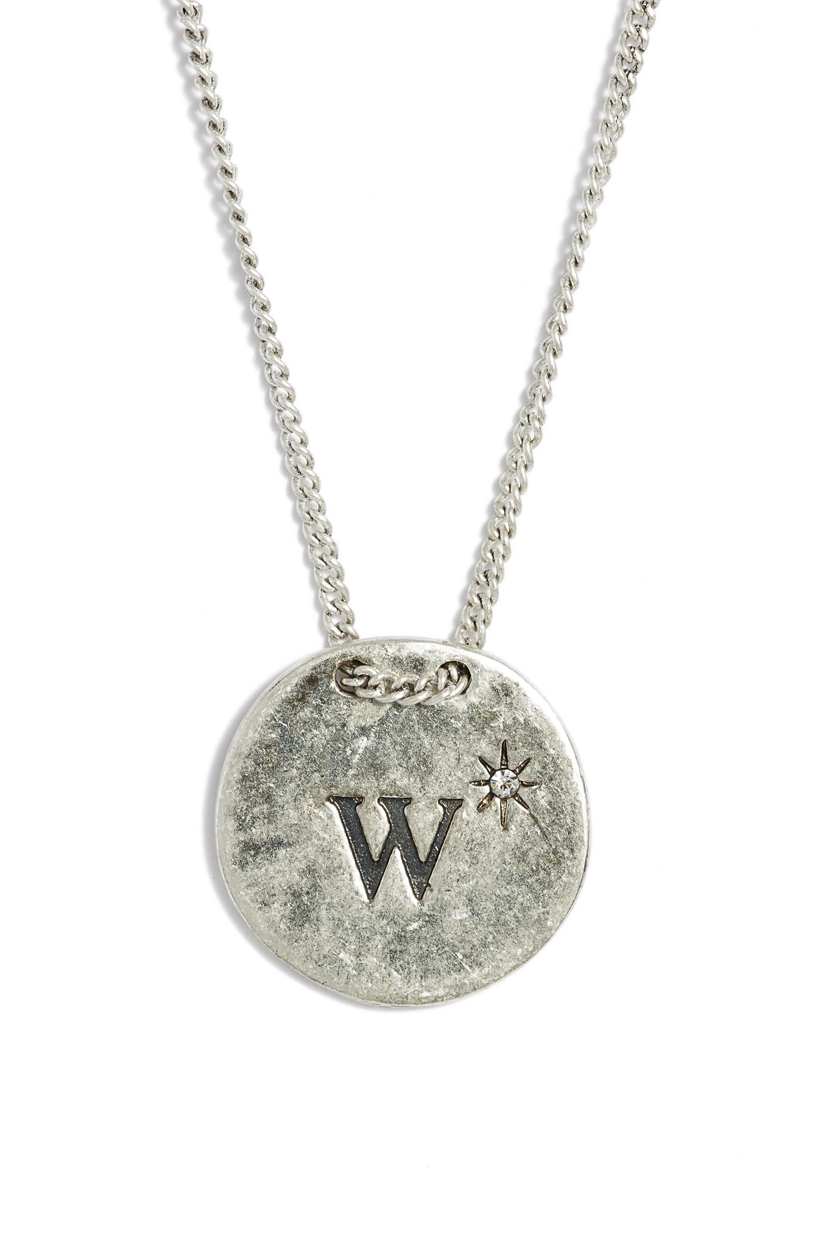 Initial Collar Necklace,                         Main,                         color, W- Clear- Rhodium