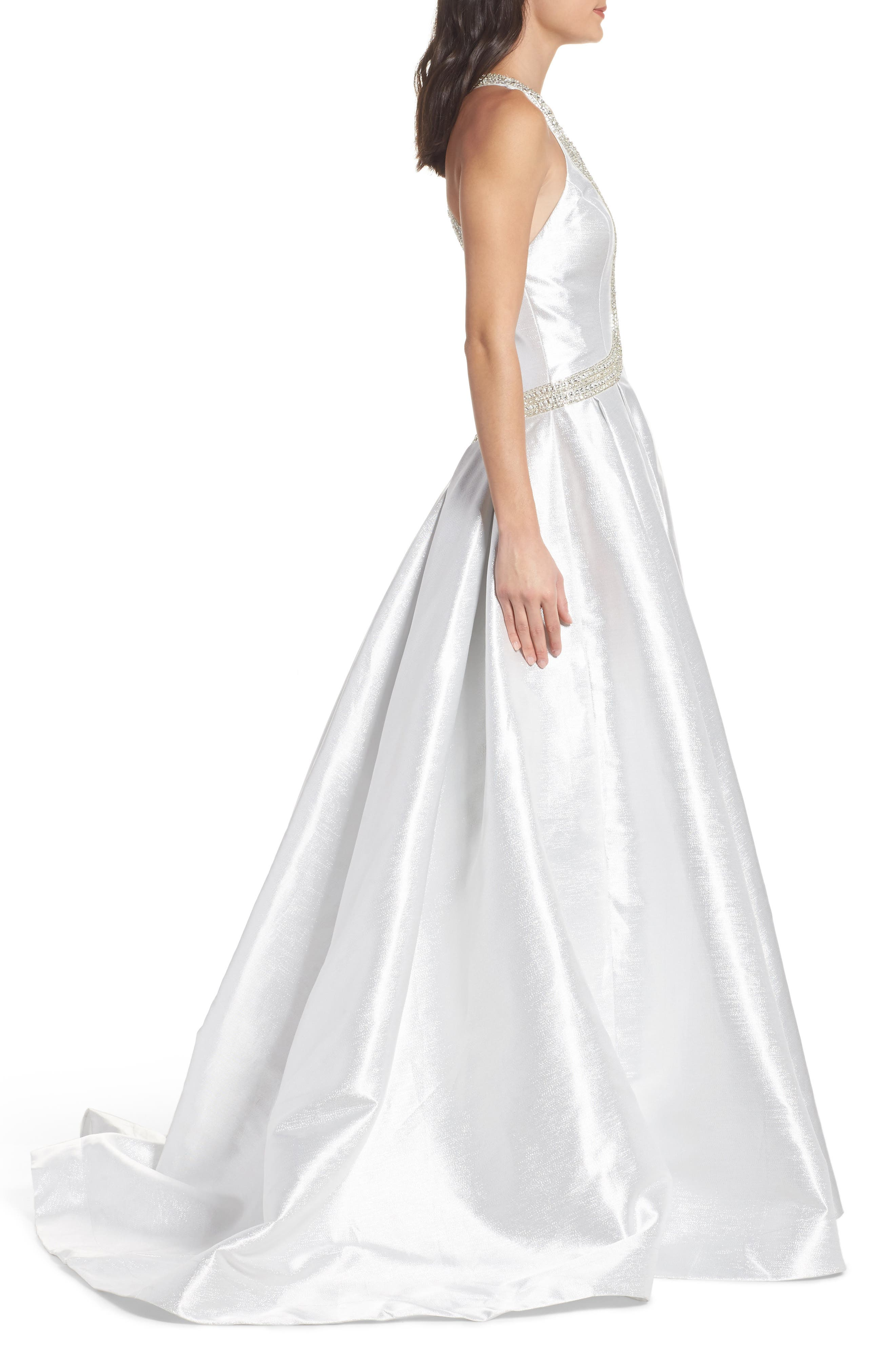 Beaded Halter Neck Ballgown,                             Alternate thumbnail 3, color,                             Ice Ice Baby