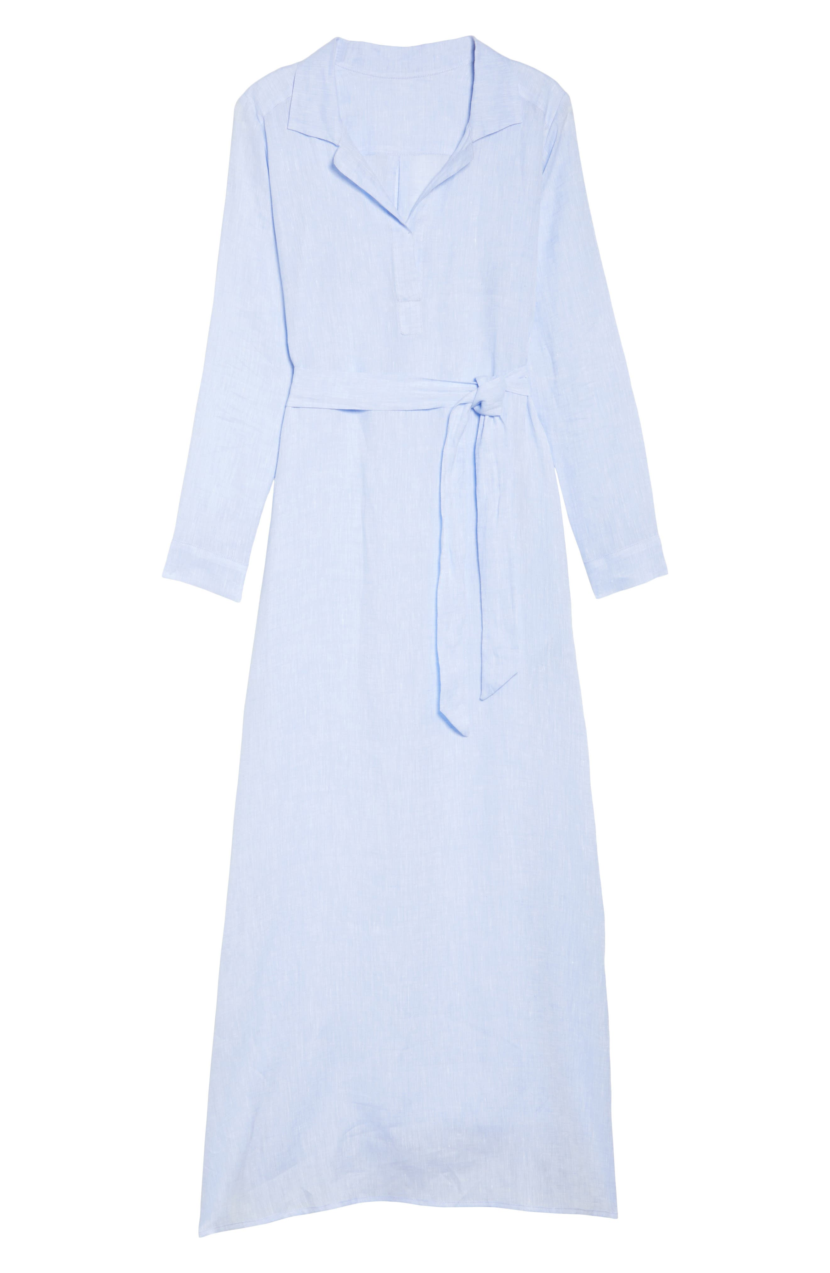 Alternate Image 4  - Pour Les Femmes Linen Maxi Sleep Shirtdress