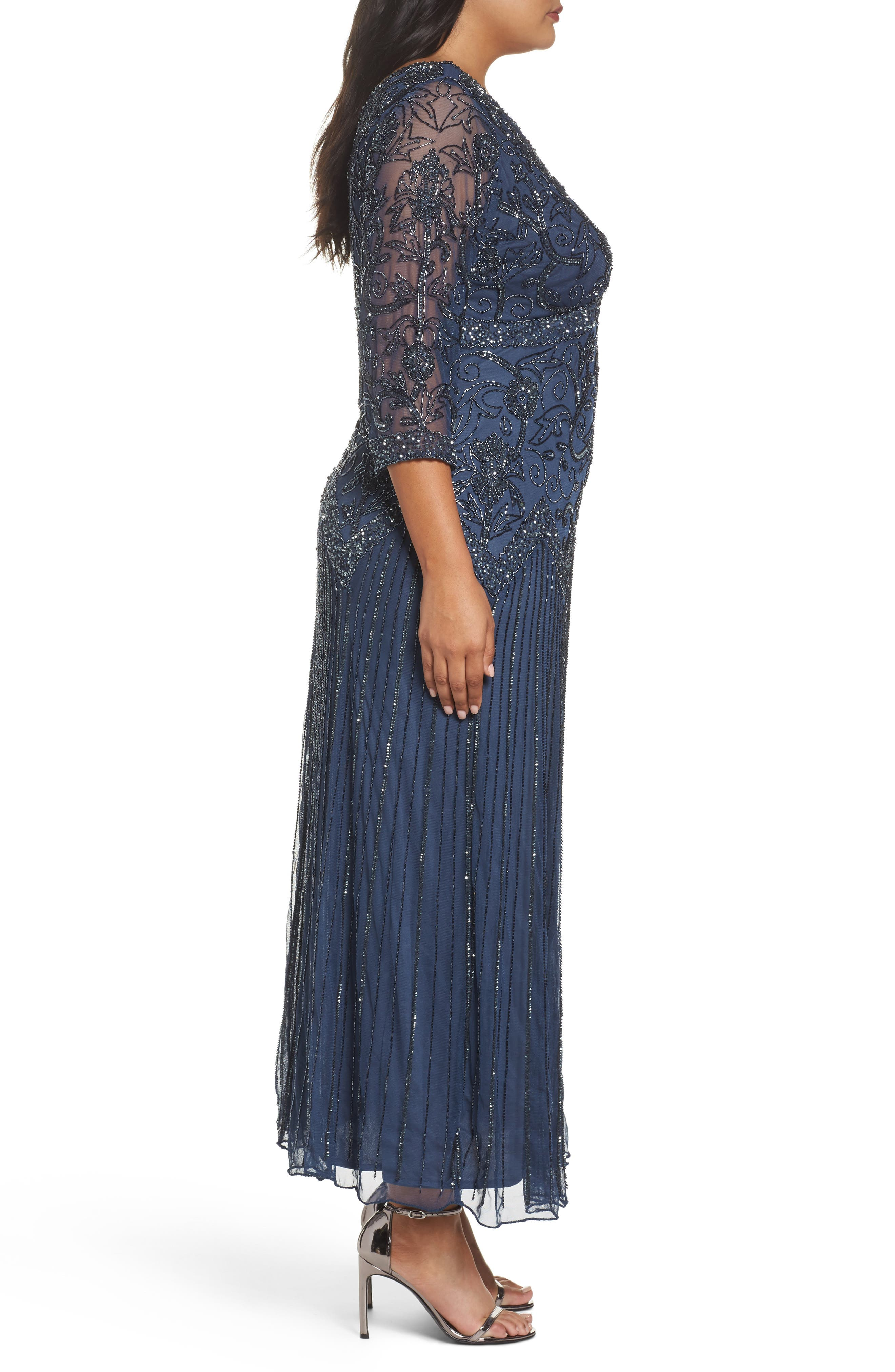 Alternate Image 3  - Pisarro Nights Embellished Double V-Neck Midi Dress (Plus Size)