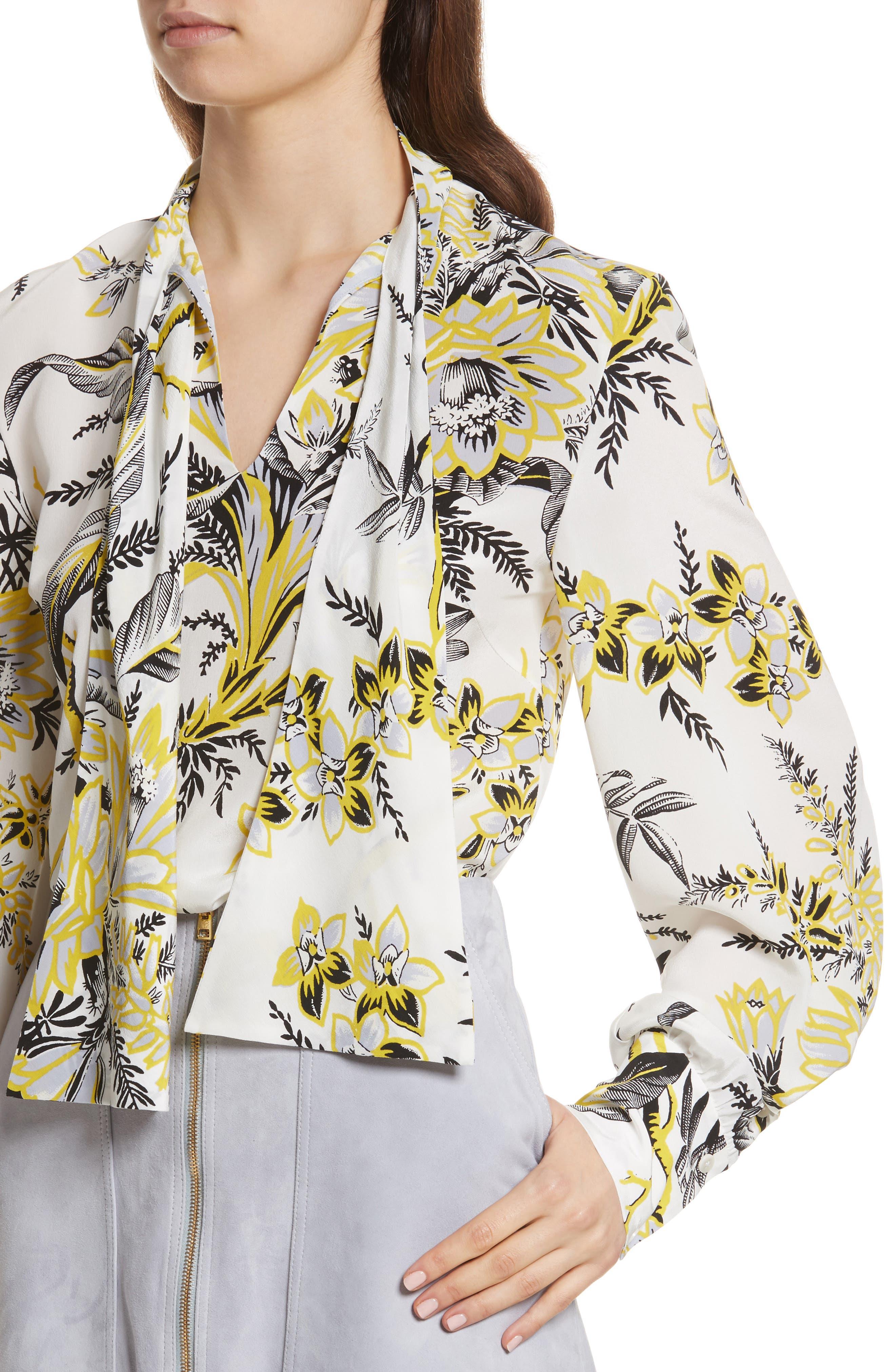 Diane von Furstenberg Tie Neck Silk Blouse,                             Alternate thumbnail 4, color,                             Avalon Ivory