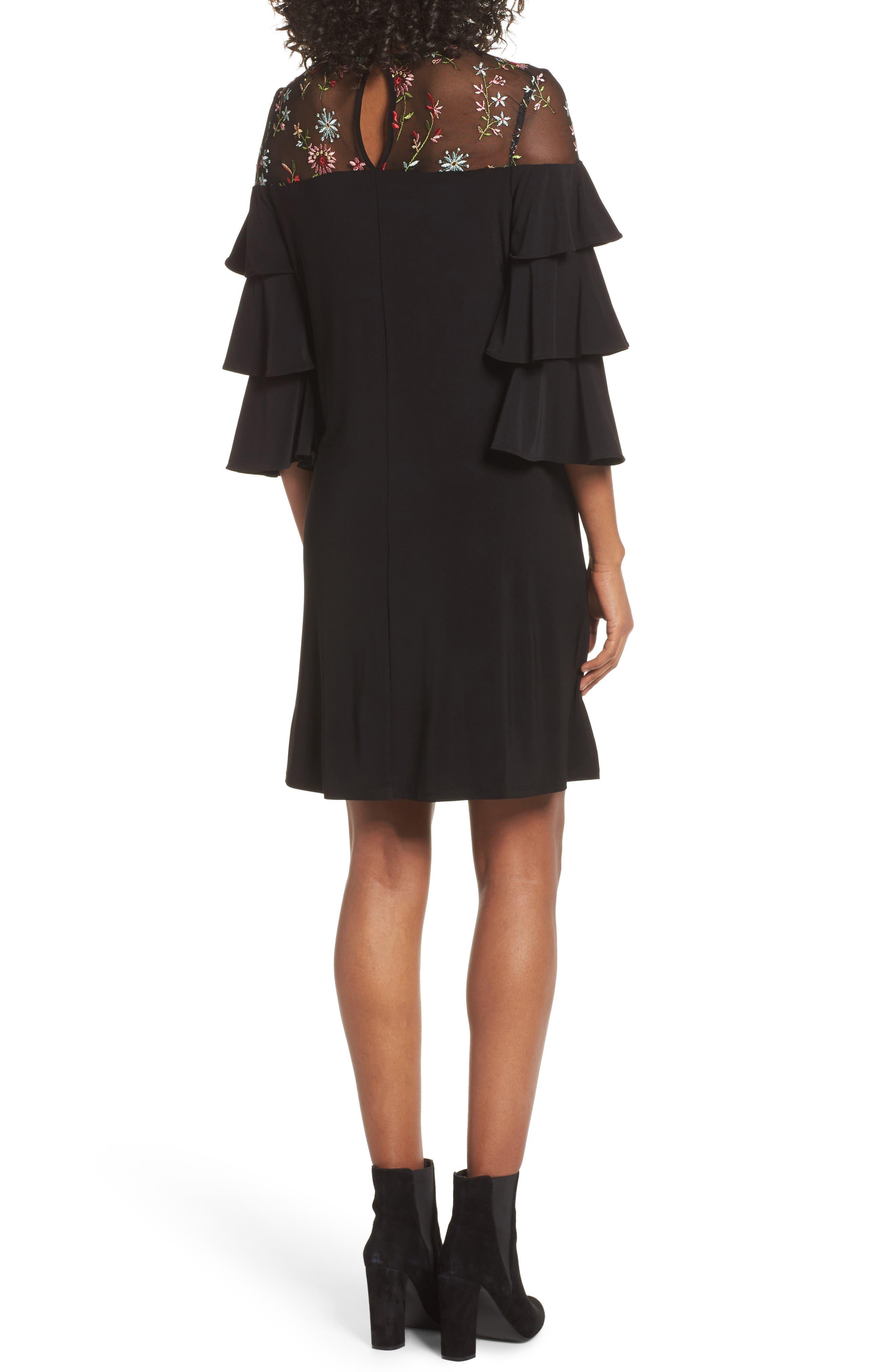 Tiered Sleeve Trapeze Dress,                             Alternate thumbnail 2, color,                             Black Multi