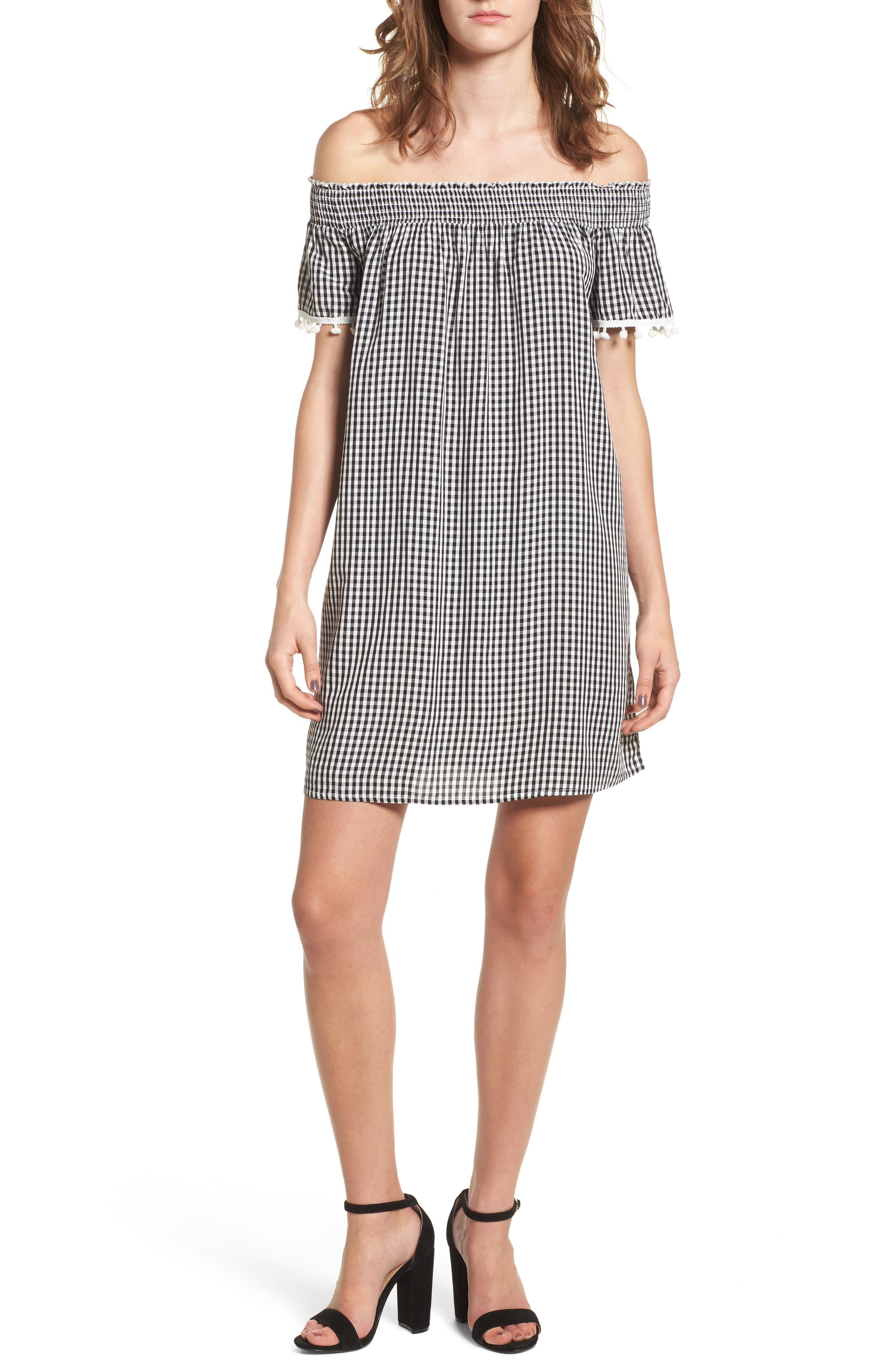 Off the Shoulder Gingham Dress,                         Main,                         color, Black White Gingham