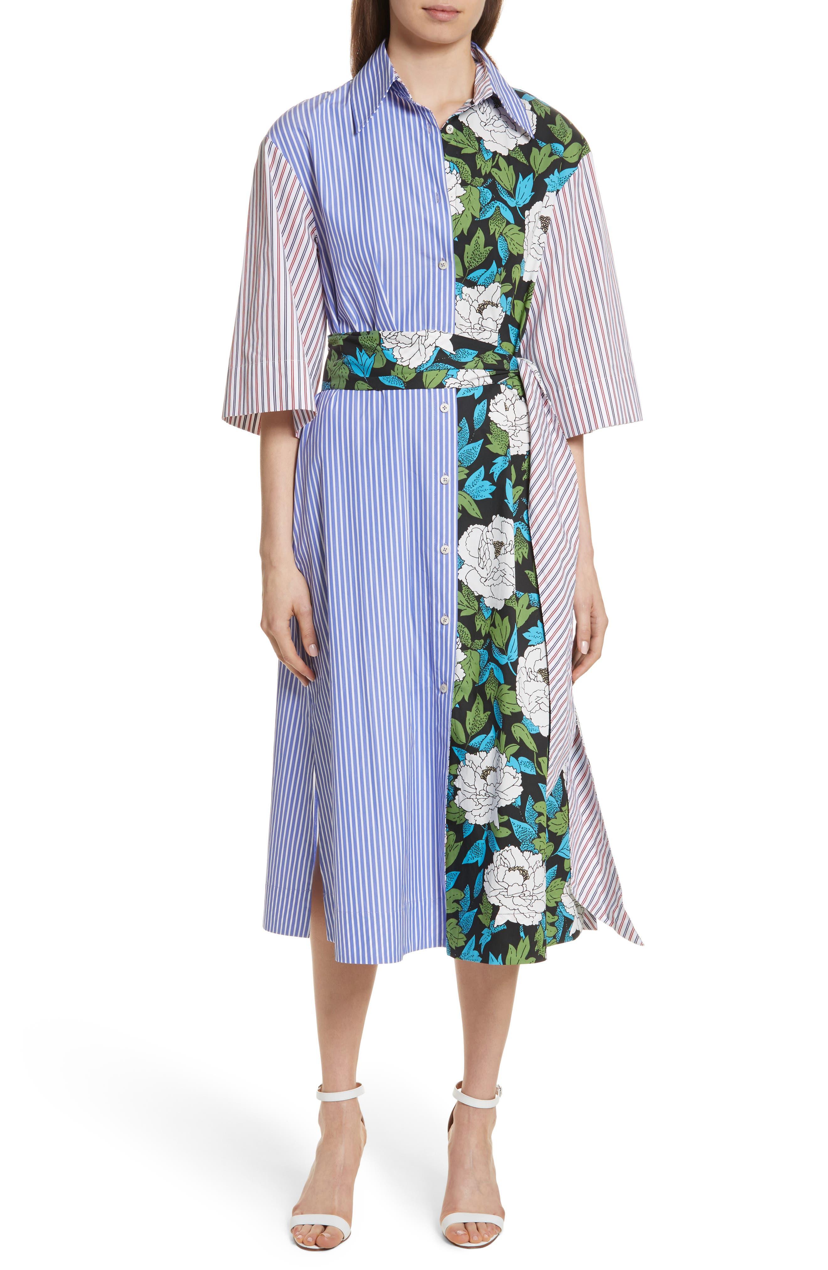 Diane von Furstenberg Mixed Print Cotton Shirtdress,                         Main,                         color, Blue White Wide Stripe